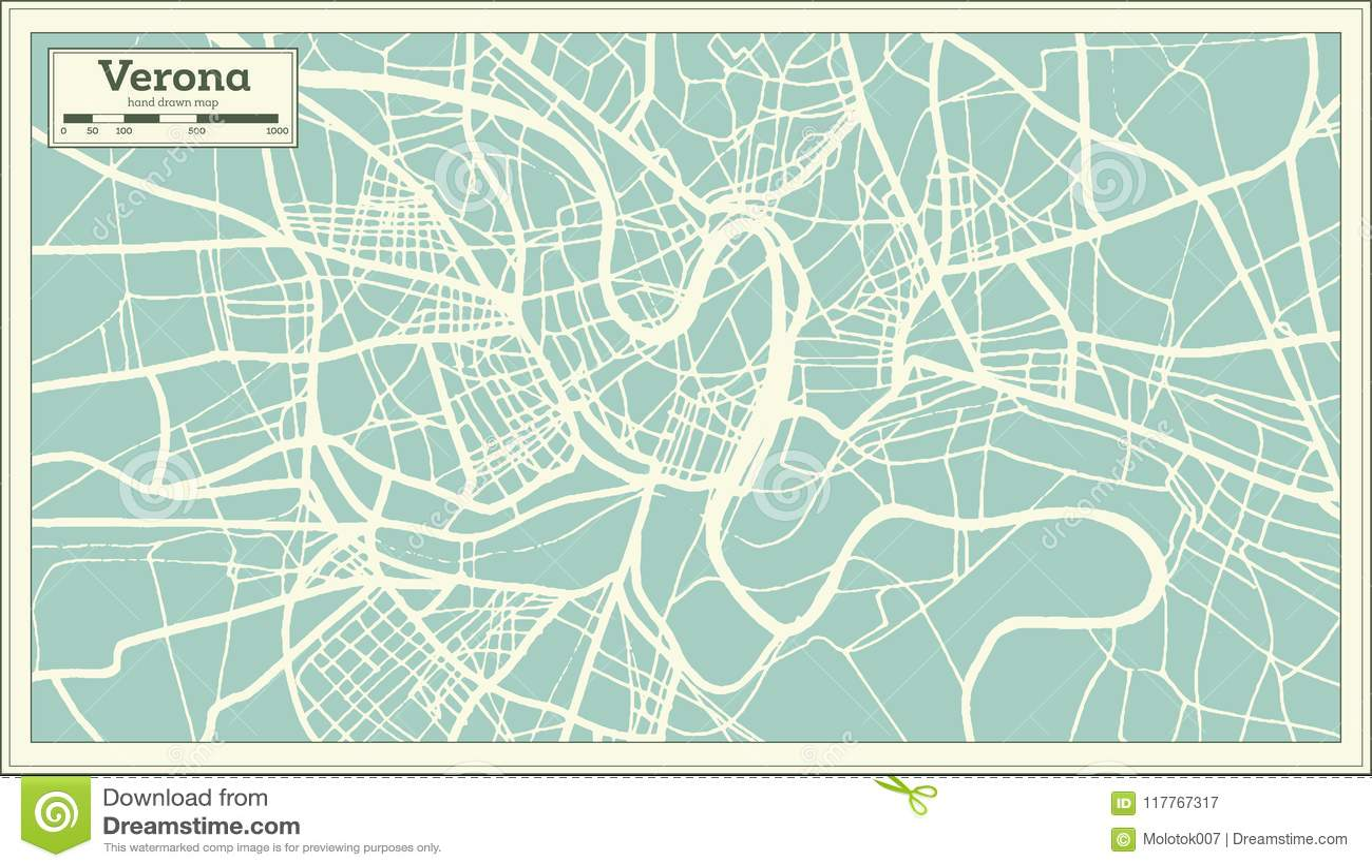 Verona Italy City Map In Retro Style Stock Vector Illustration Of