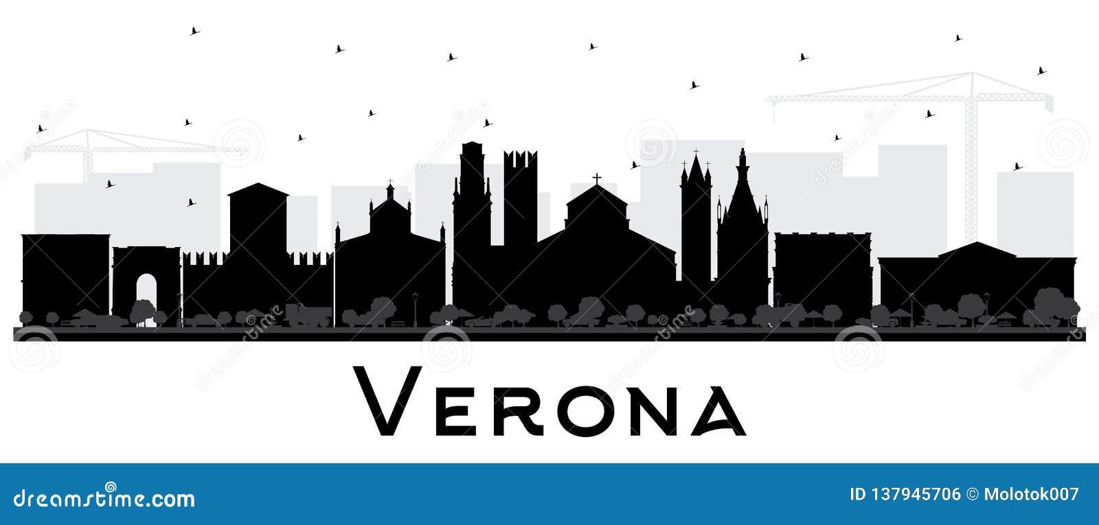 Verona Italy City Skyline Silhouette med svarta byggnader som isoleras på vit