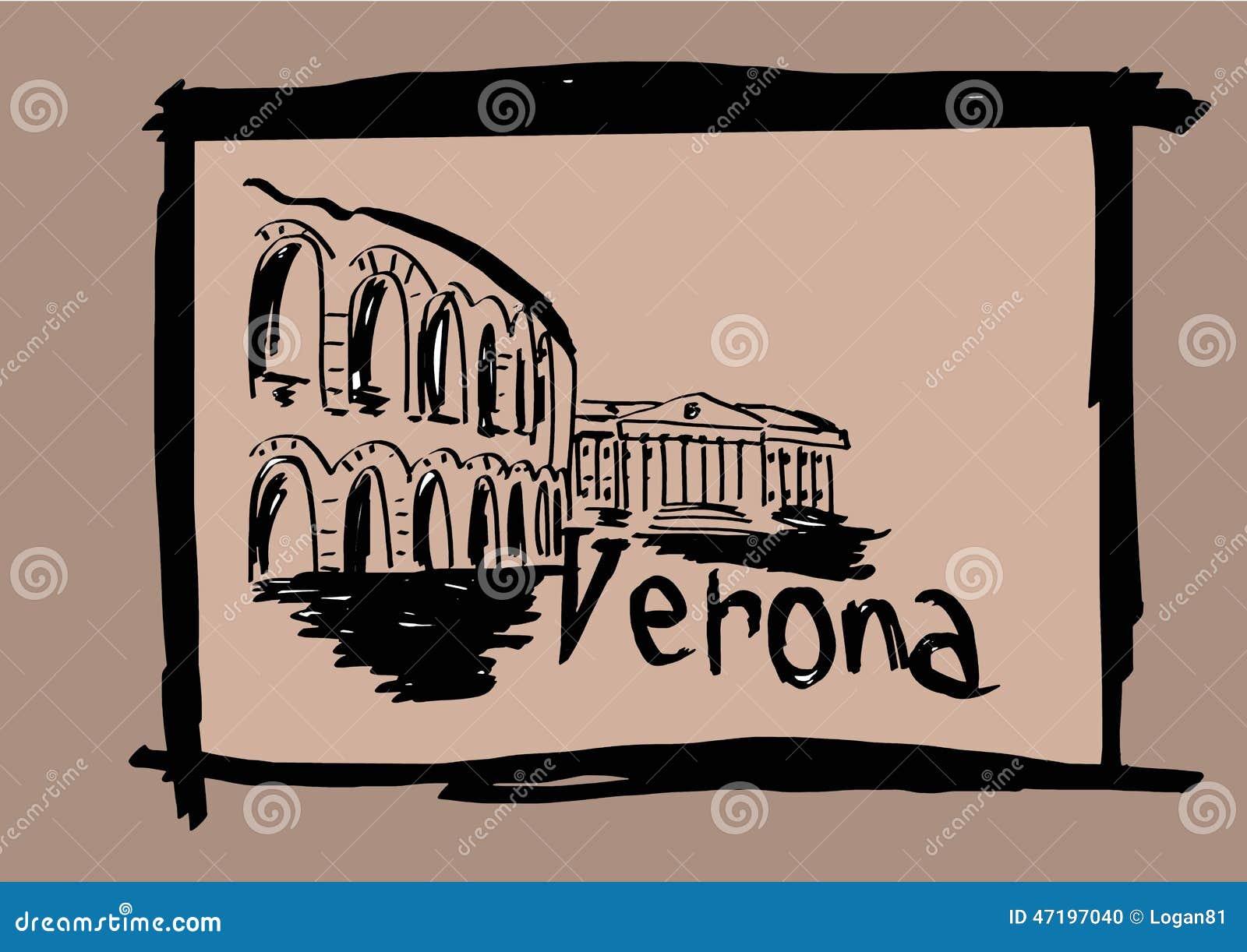 Verona sketch stock illustration. Illustration of holidays ...