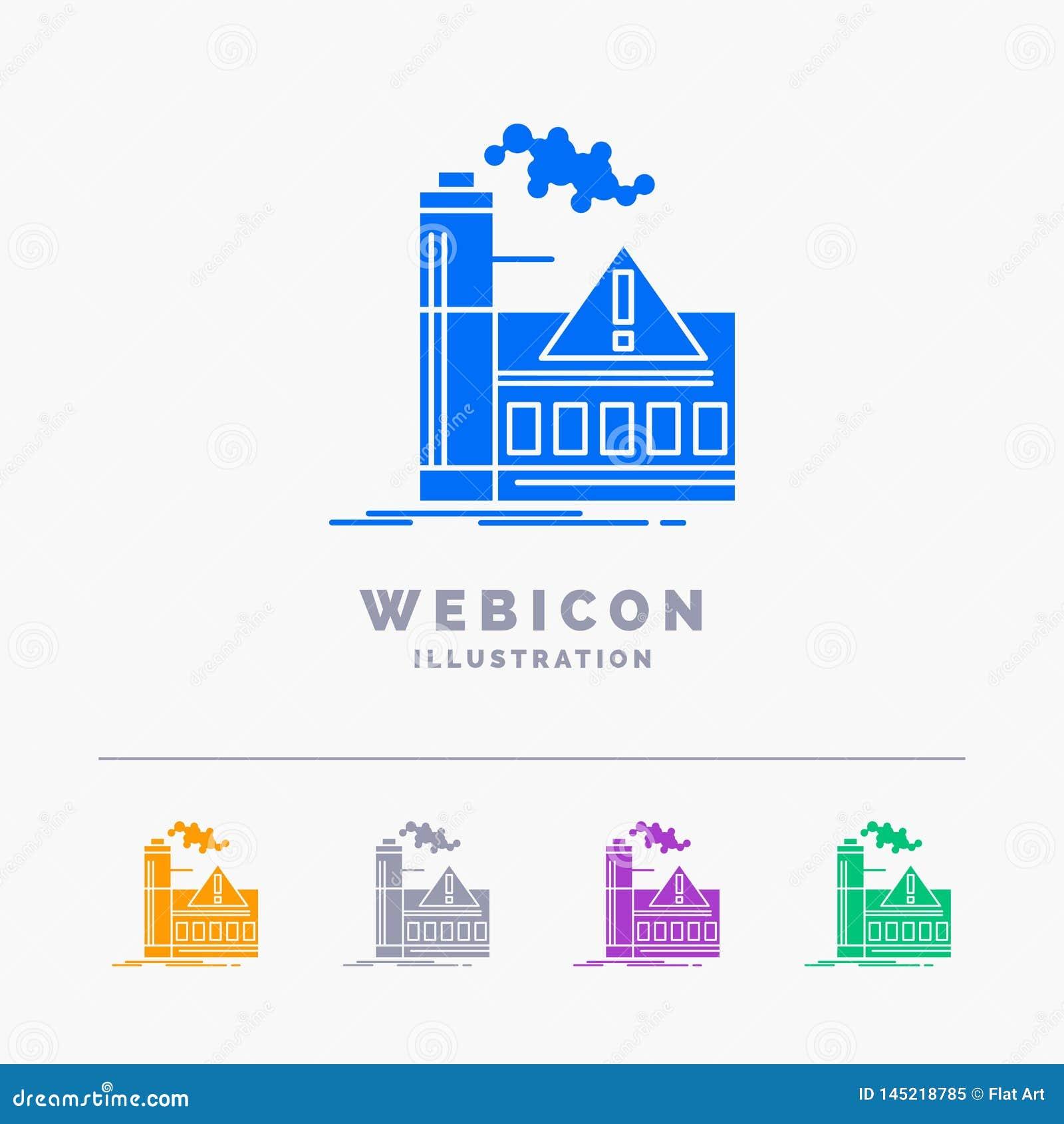 Verontreiniging, Fabriek, Lucht, Alarm, de industrie 5 het Malplaatje van het het Webpictogram van Kleurenglyph dat op wit wordt
