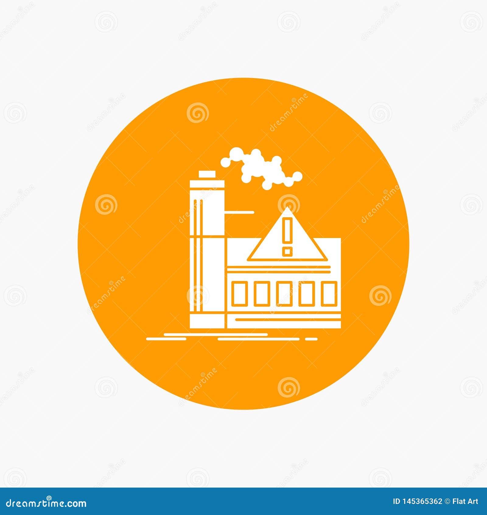 Verontreiniging, Fabriek, Lucht, Alarm, Pictogram van de industrie het Witte Glyph in Cirkel Vectorknoopillustratie