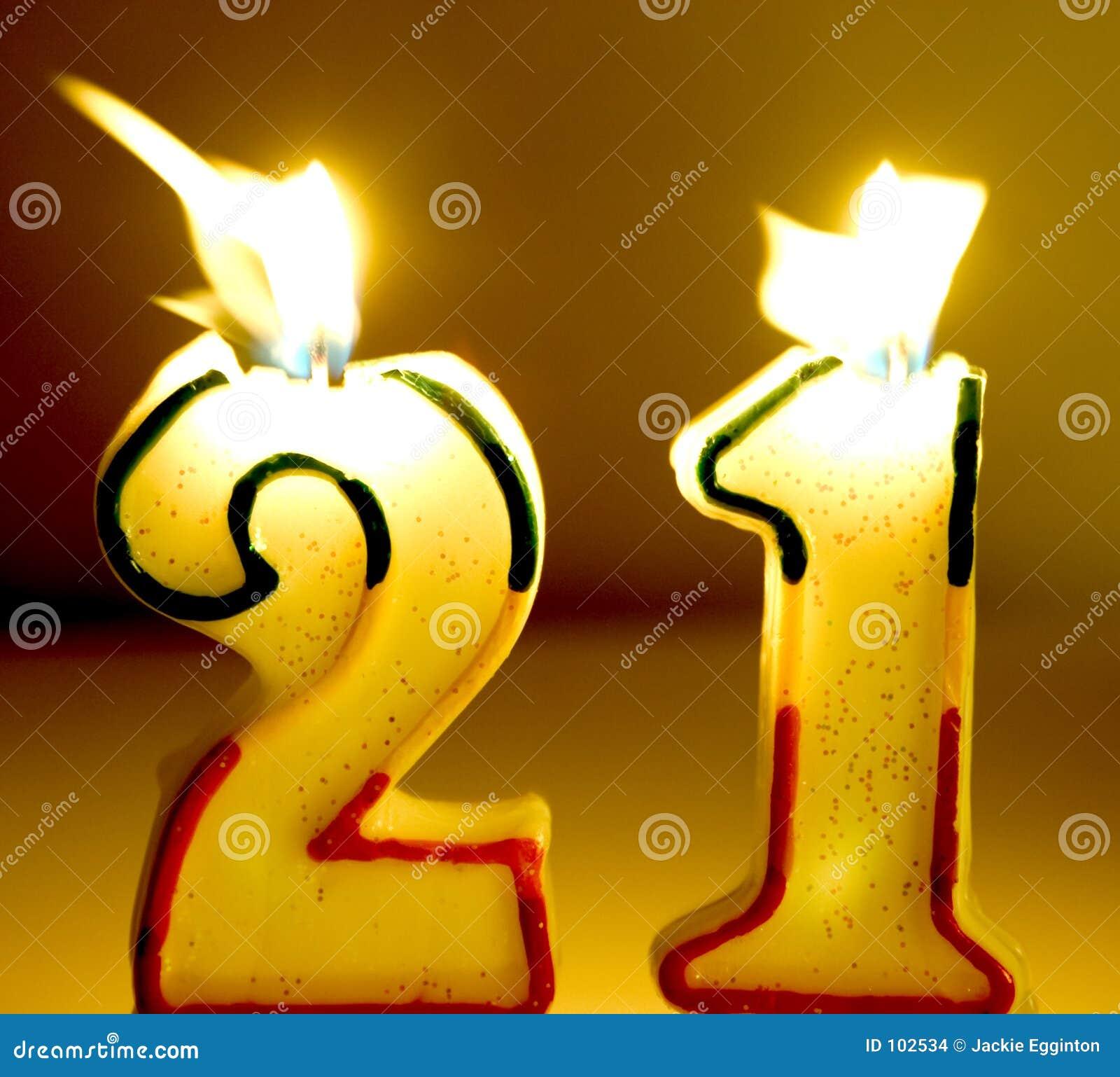 Verouder 21 Kaarsen Stock Foto Afbeelding Bestaande Uit