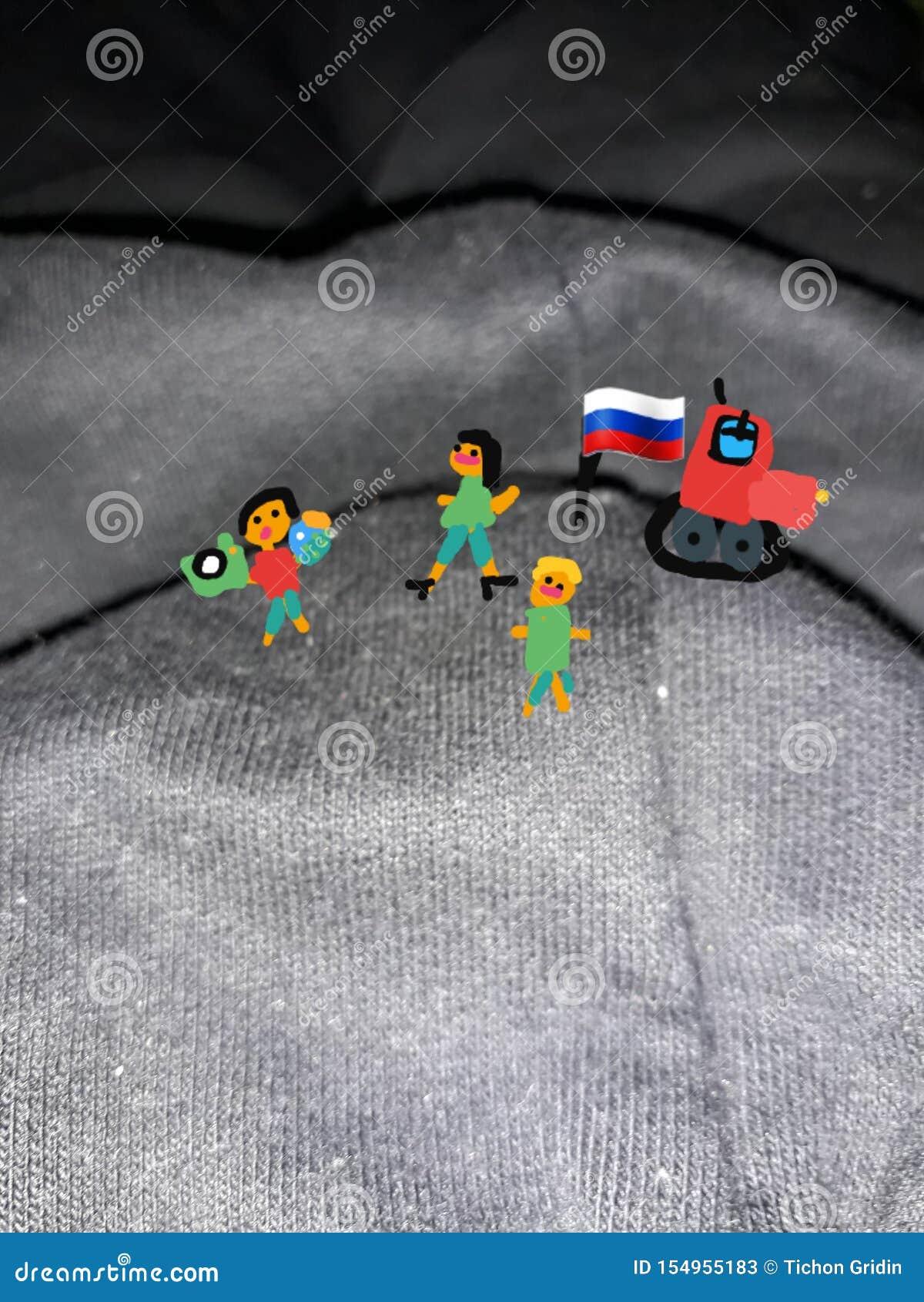 Veroverde berg De Rus kreeg uit de auto en plantte de vlag van tricolor Het trekken van de hand van het kind