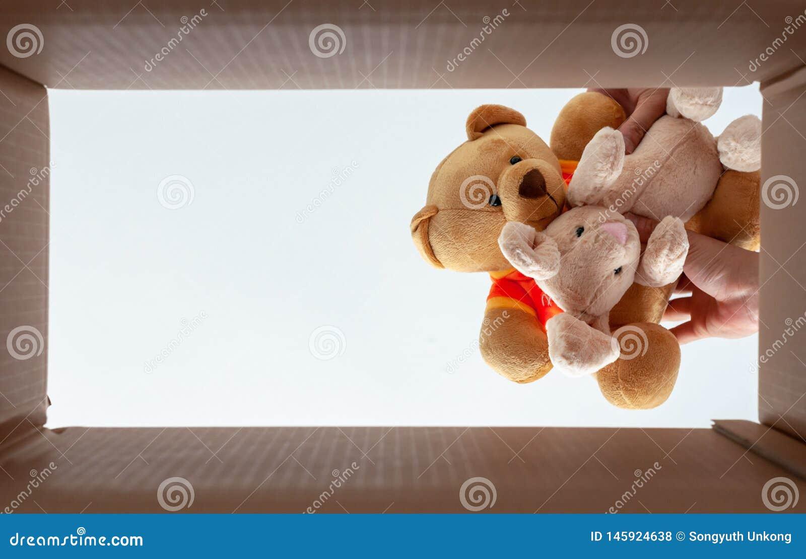 Verpackende Puppen im Kasten für Umzug Foto nimmt von der Ansicht von unten