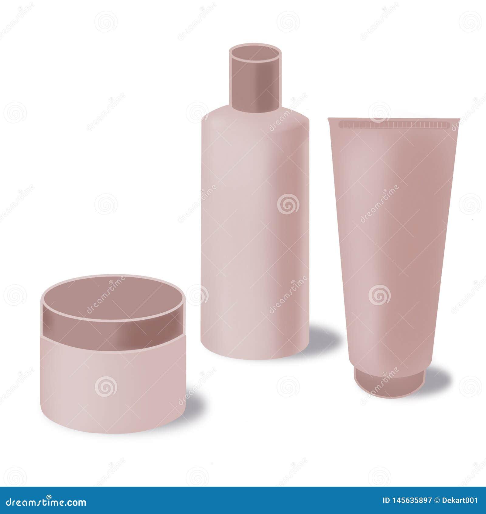 Verpackensatz des leeren Kosmetikproduktes, Sahnerohr, Shampooflasche, Sahnebehälter lokalisiert auf weißem backgorund