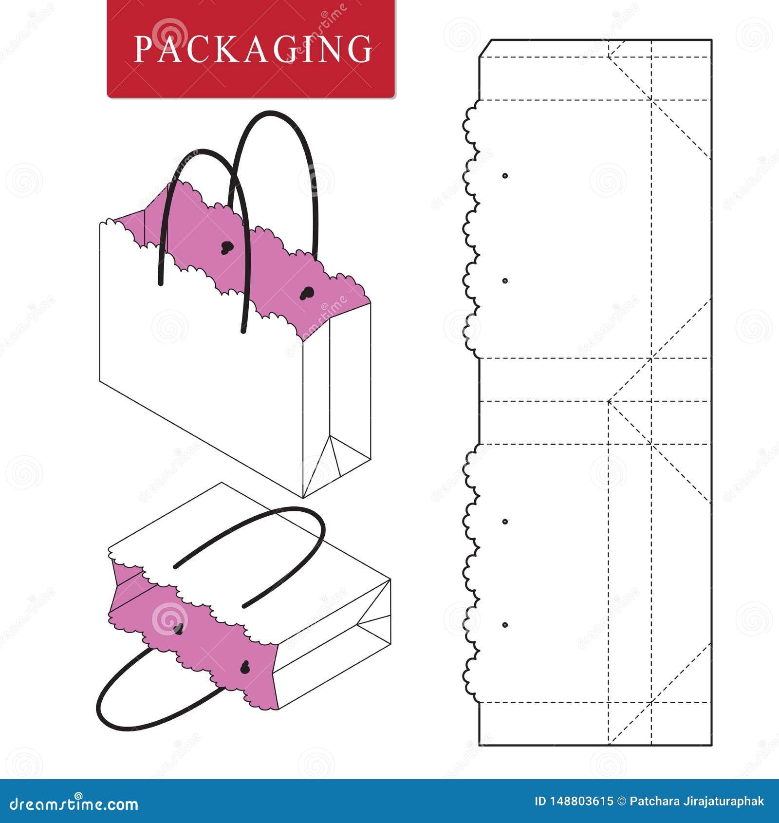 Verpackenschablone der Tasche f?r das Tragen Vektorillustration der Verpackung