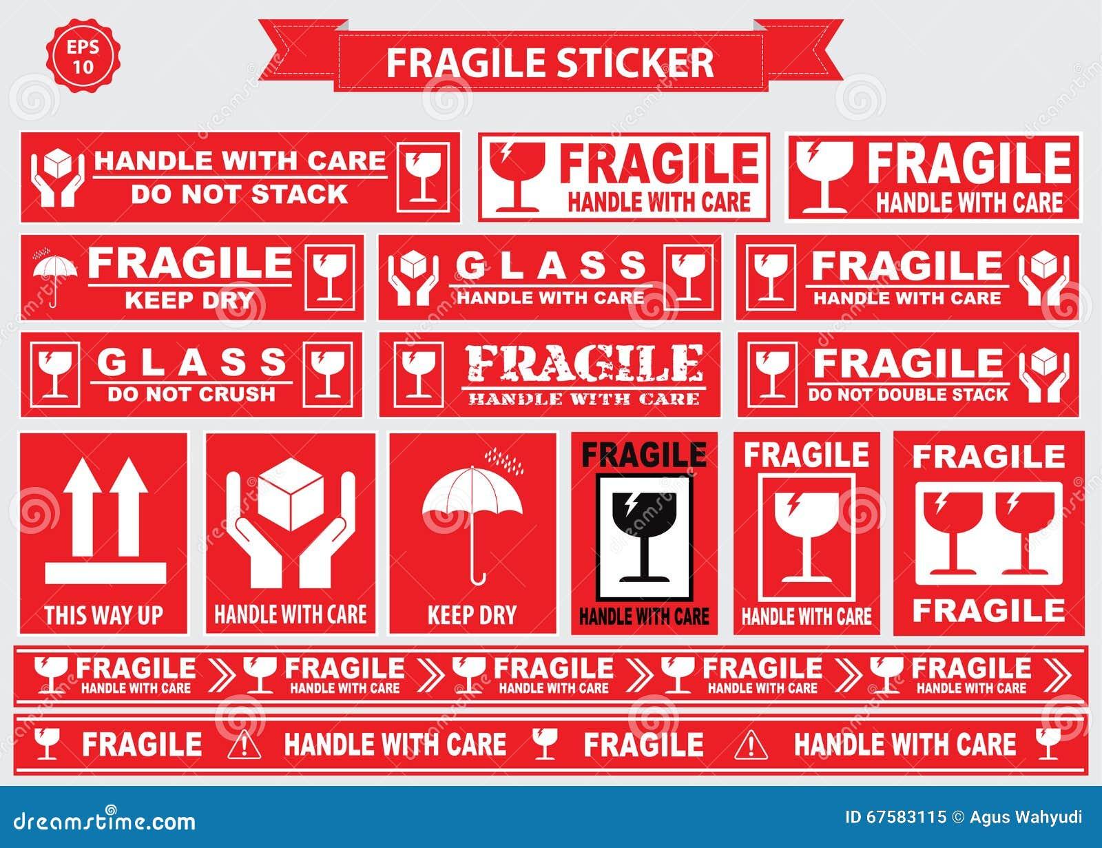 Verpakking of breekbare stickers