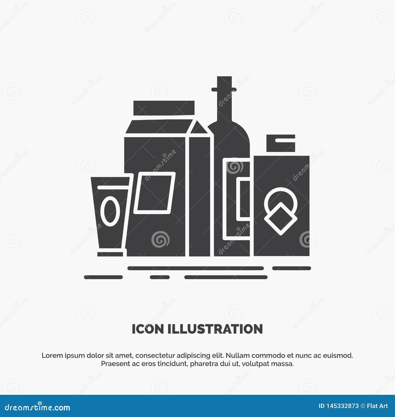 Verpakking, het Brandmerken, marketing, product, flessenpictogram glyph vector grijs symbool voor UI en UX, website of mobiele to