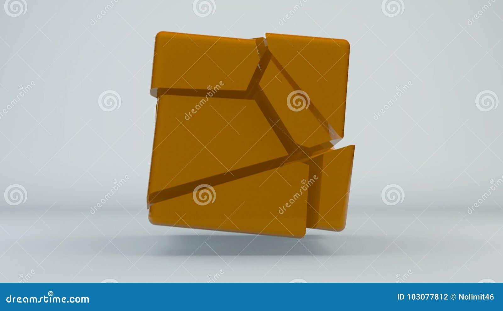 Verplaatsings oranje kubus abstracte achtergrond