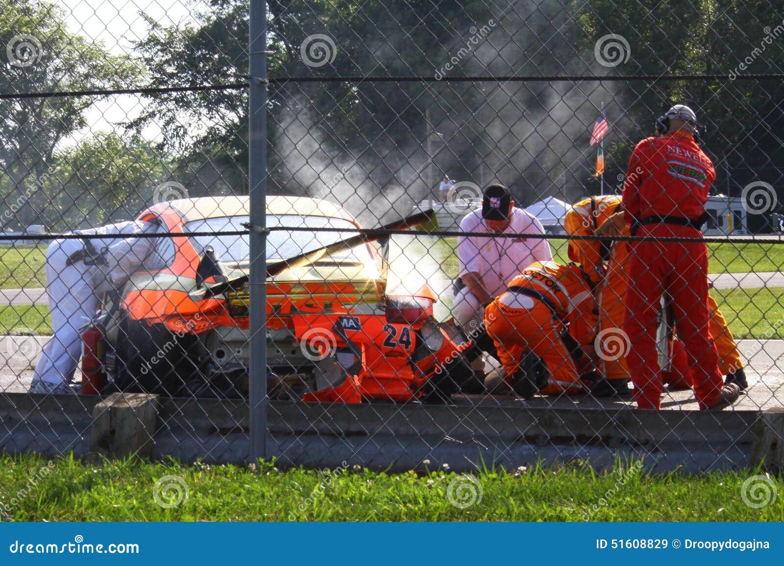 Verpletterde raceauto
