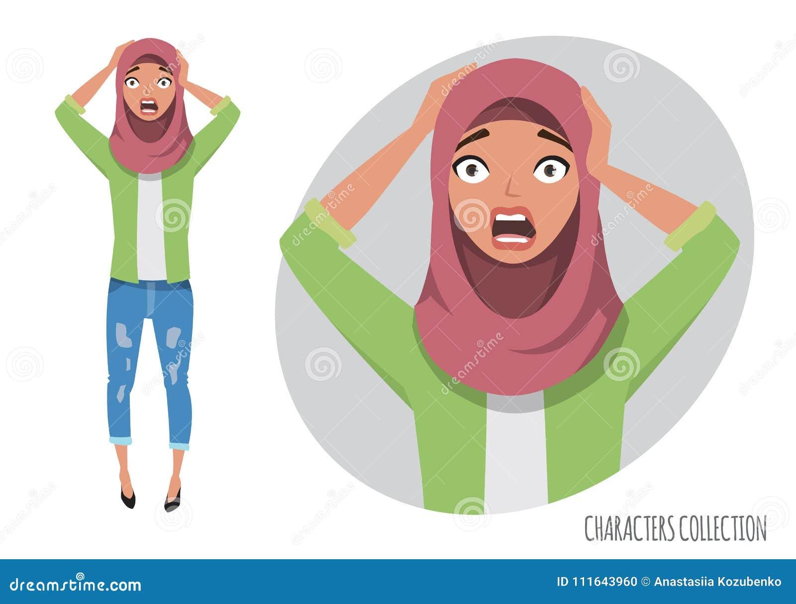 Verraste geschokte oostelijke vrouw Moslim jonge vrouw die hijab dragen