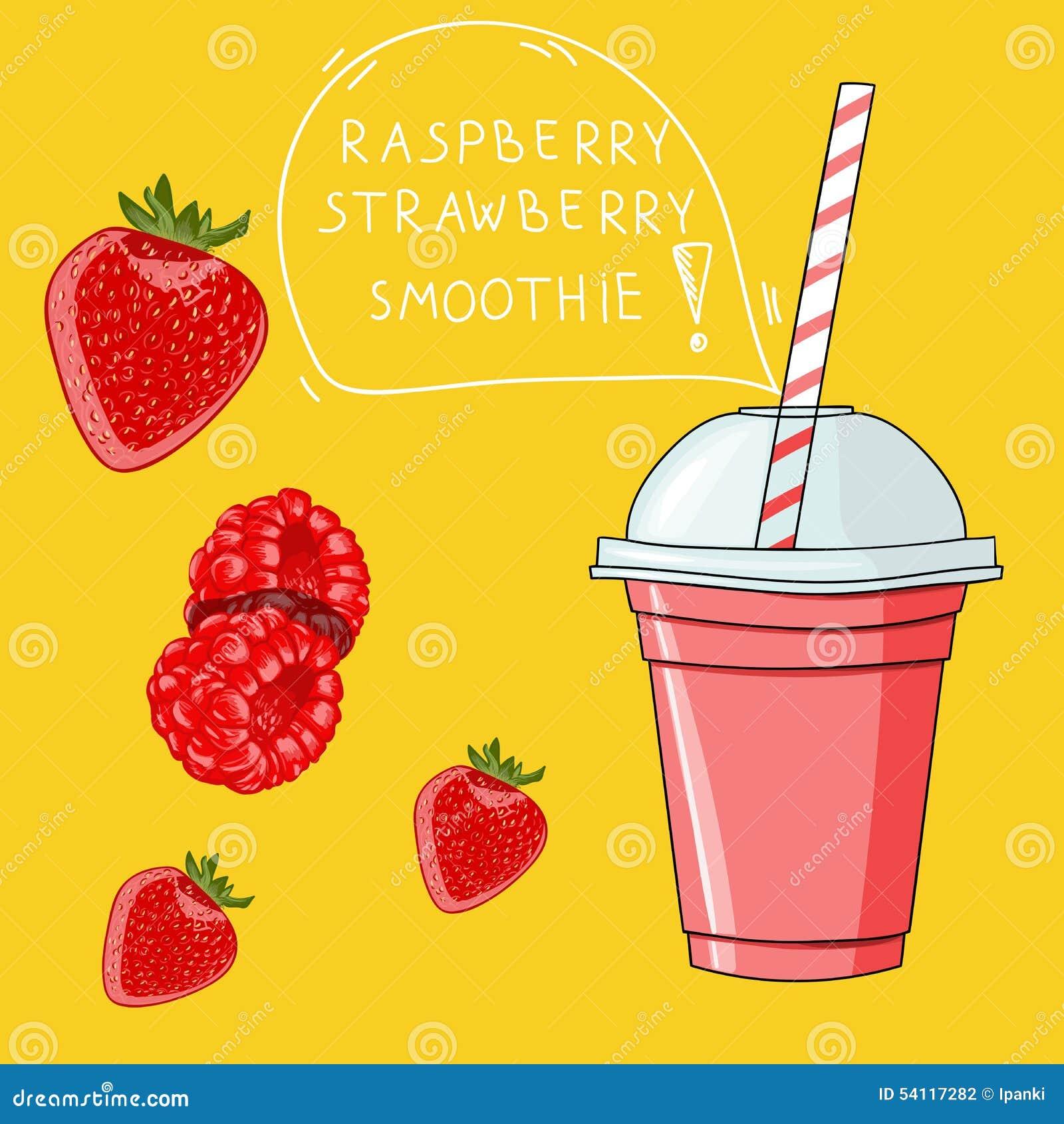 Verre avec le smoothie de fraise de framboise Bio boisson naturelle, hea