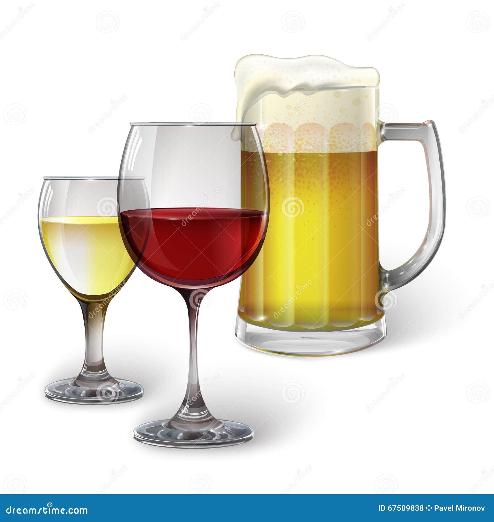 verre de cocktail verre de vin tasse avec de la bi re illustration de vecteur illustration. Black Bedroom Furniture Sets. Home Design Ideas