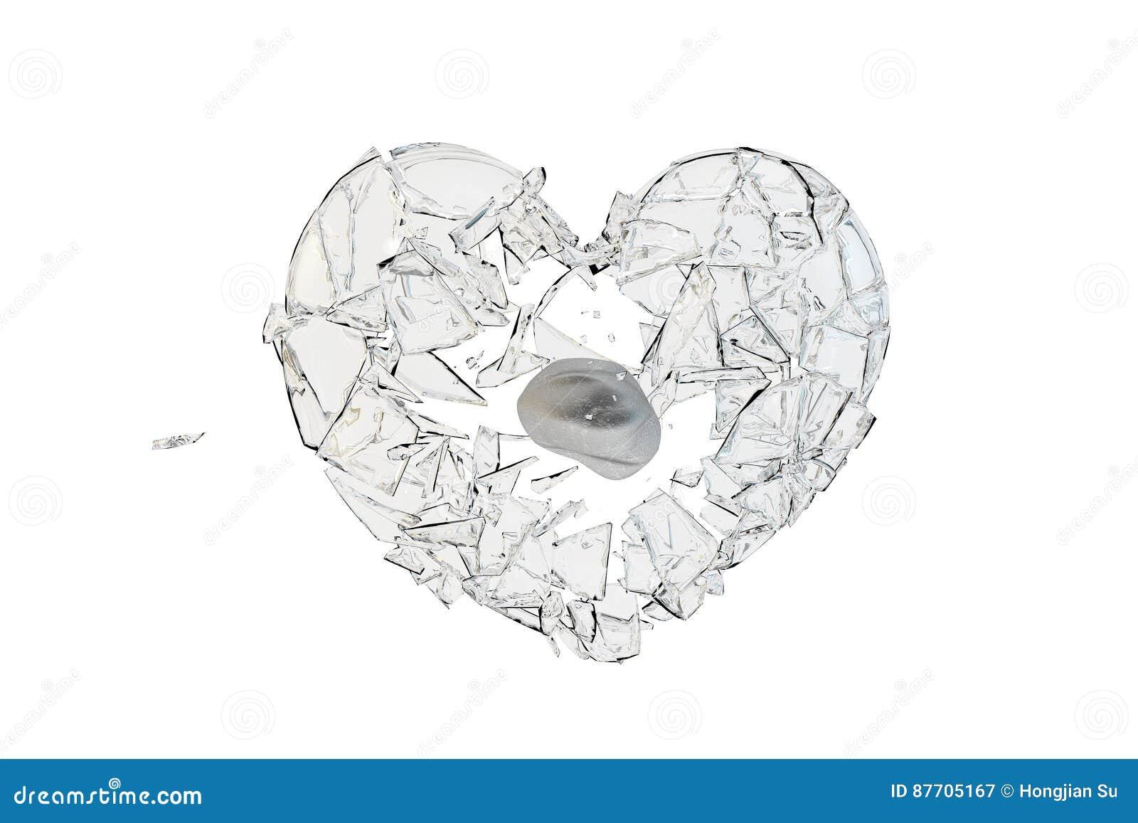 Verre de coup de pierre en forme de coeur