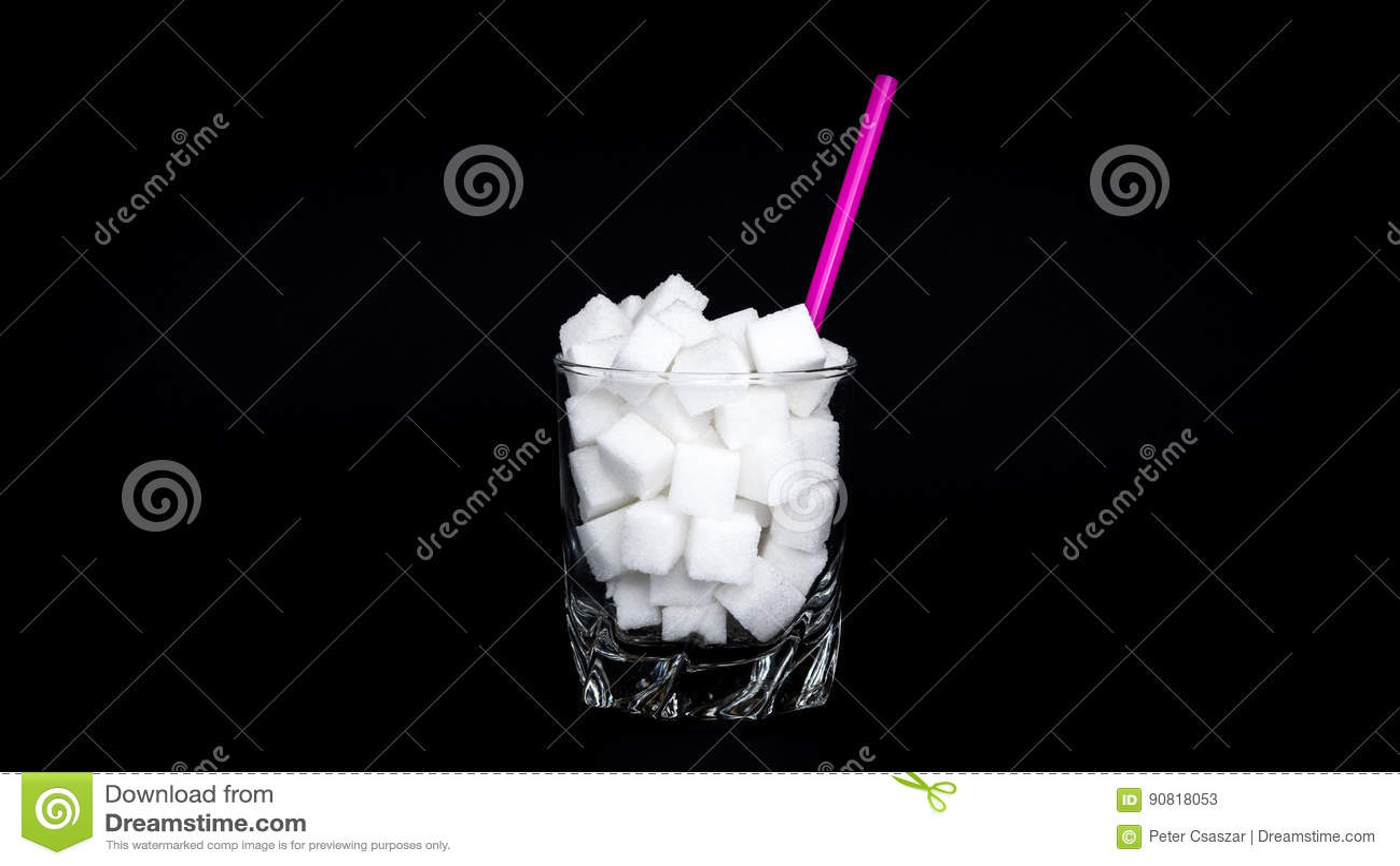 Verre de cubes en sucre