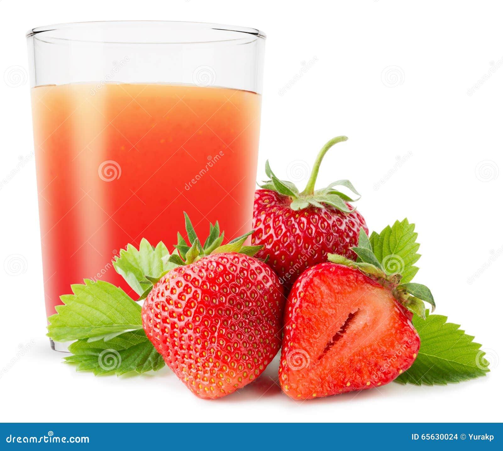 Verre de jus de fraise d isolement sur le fond blanc