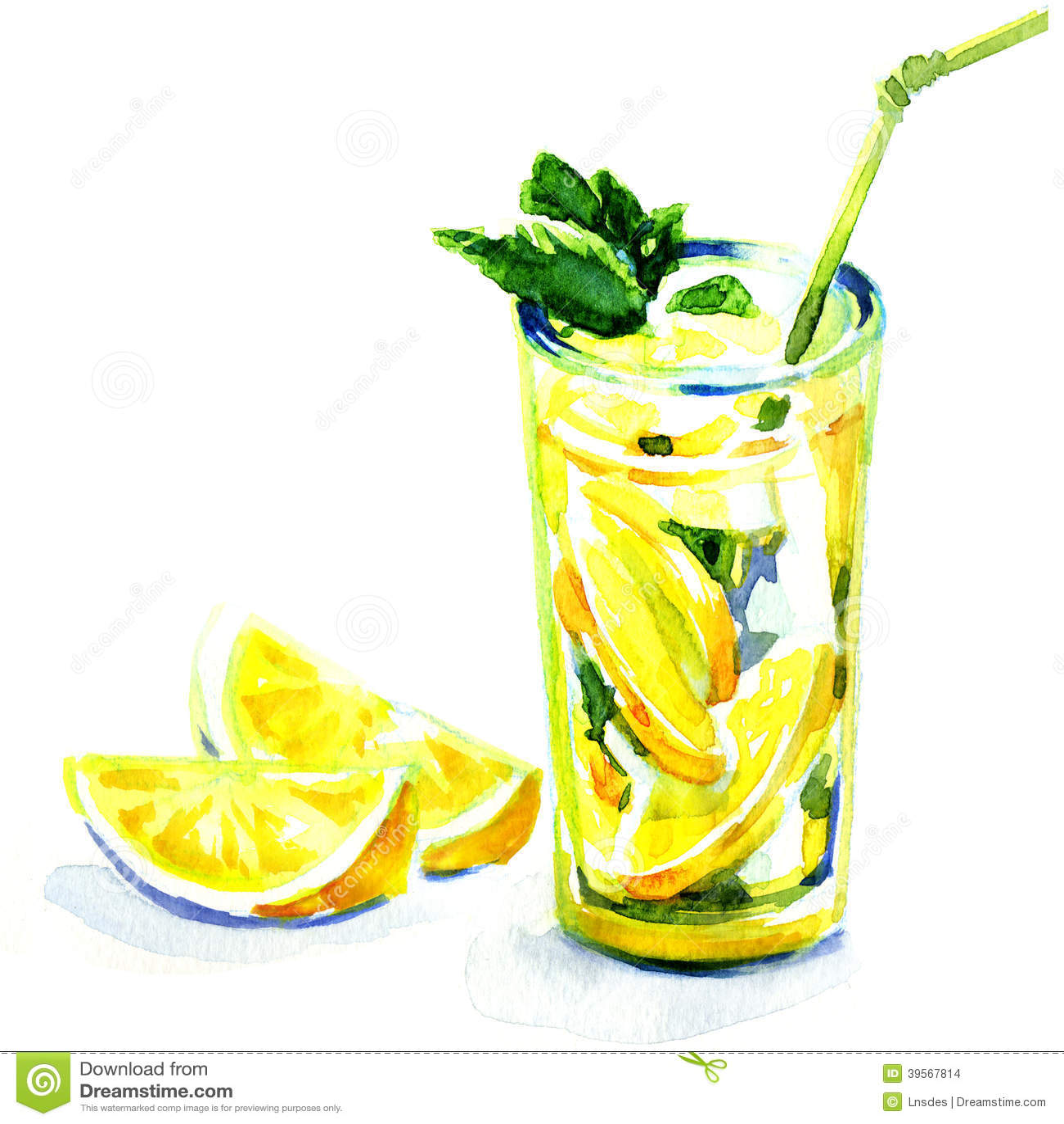 Verre de limonade avec la menthe. peinture d aquarelle