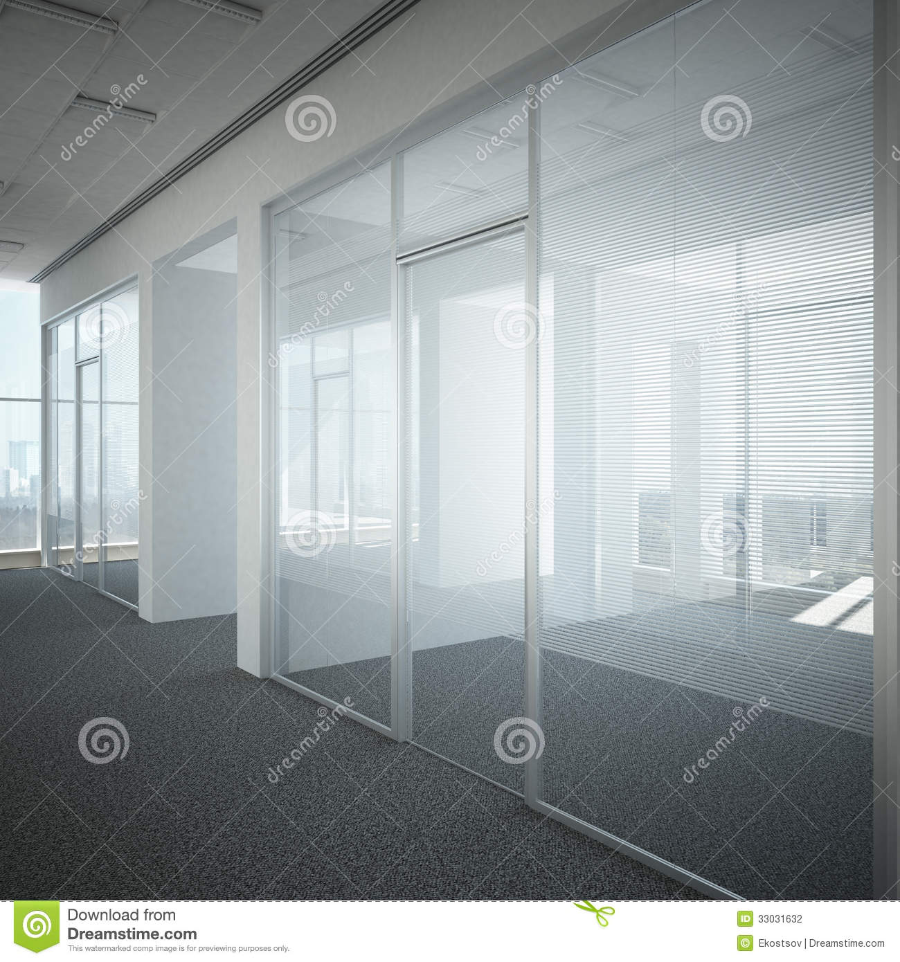 Verre de porte de couloir de bureau photographie stock for Couloir bureau