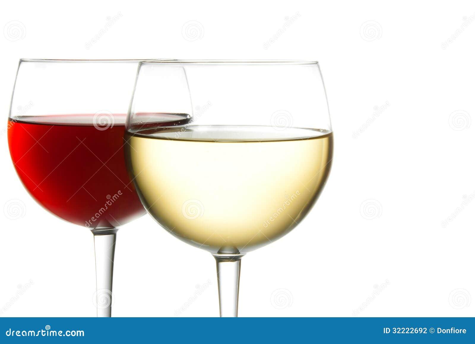 verre de vin rouge et de vin blanc photographie stock image 32222692. Black Bedroom Furniture Sets. Home Design Ideas