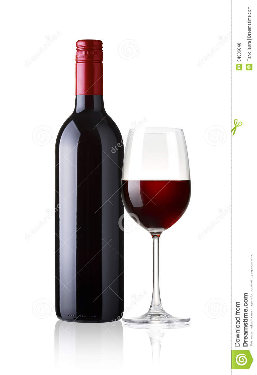 verre et bouteille de vin rouge sur le fond blanc photo stock image 34336048. Black Bedroom Furniture Sets. Home Design Ideas