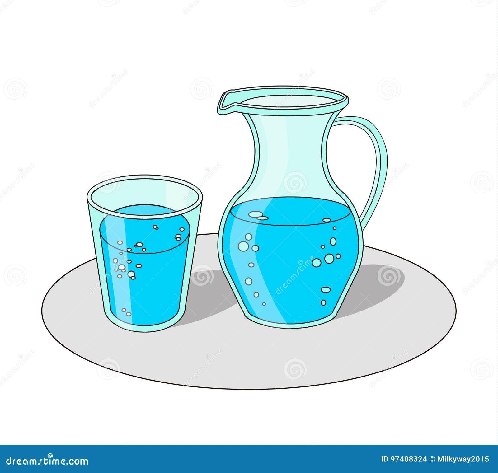 verre et carafe avec de l 39 eau illustration de vecteur. Black Bedroom Furniture Sets. Home Design Ideas