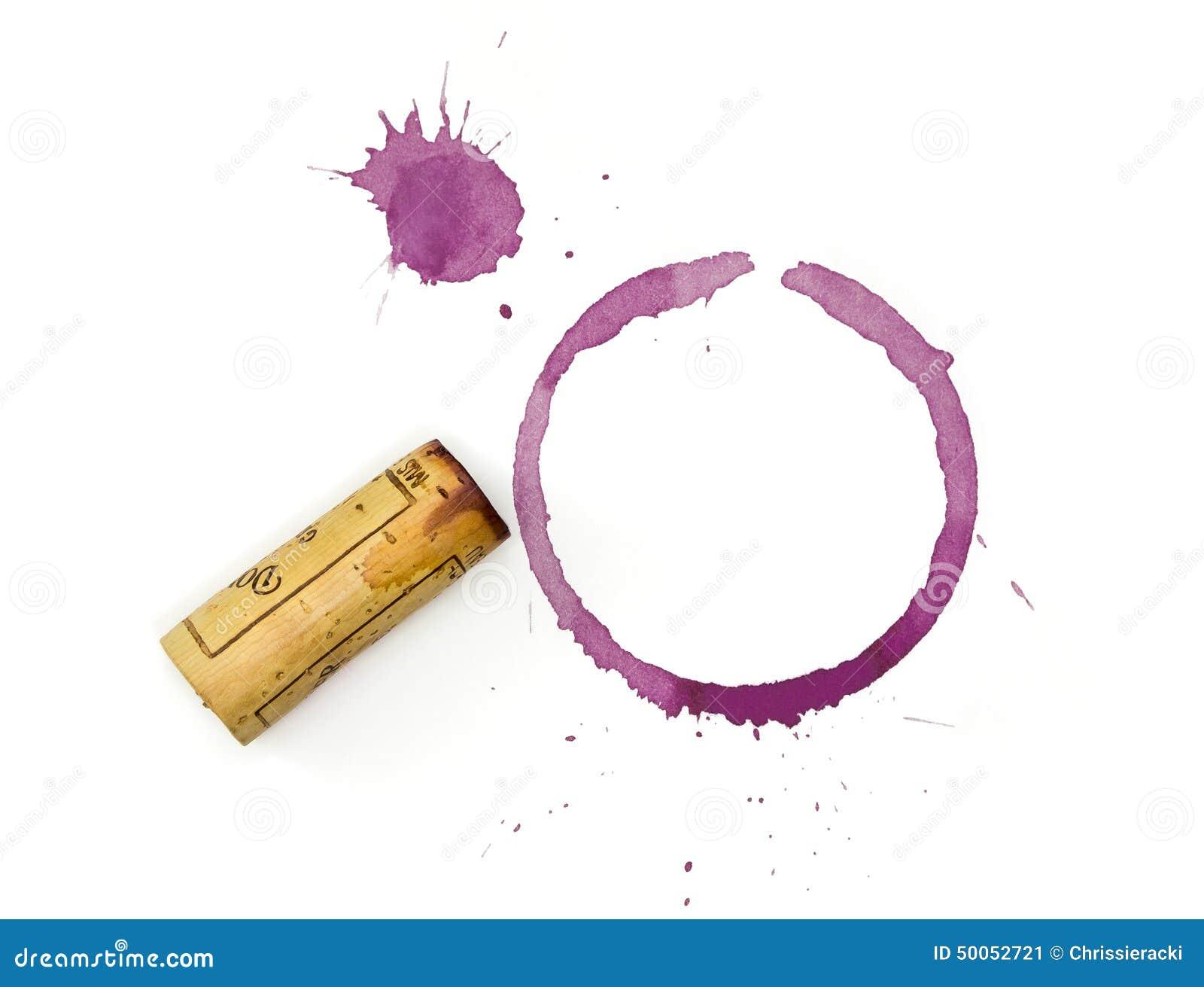Verre et Cork Stains de vin rouge avec du liège souillé