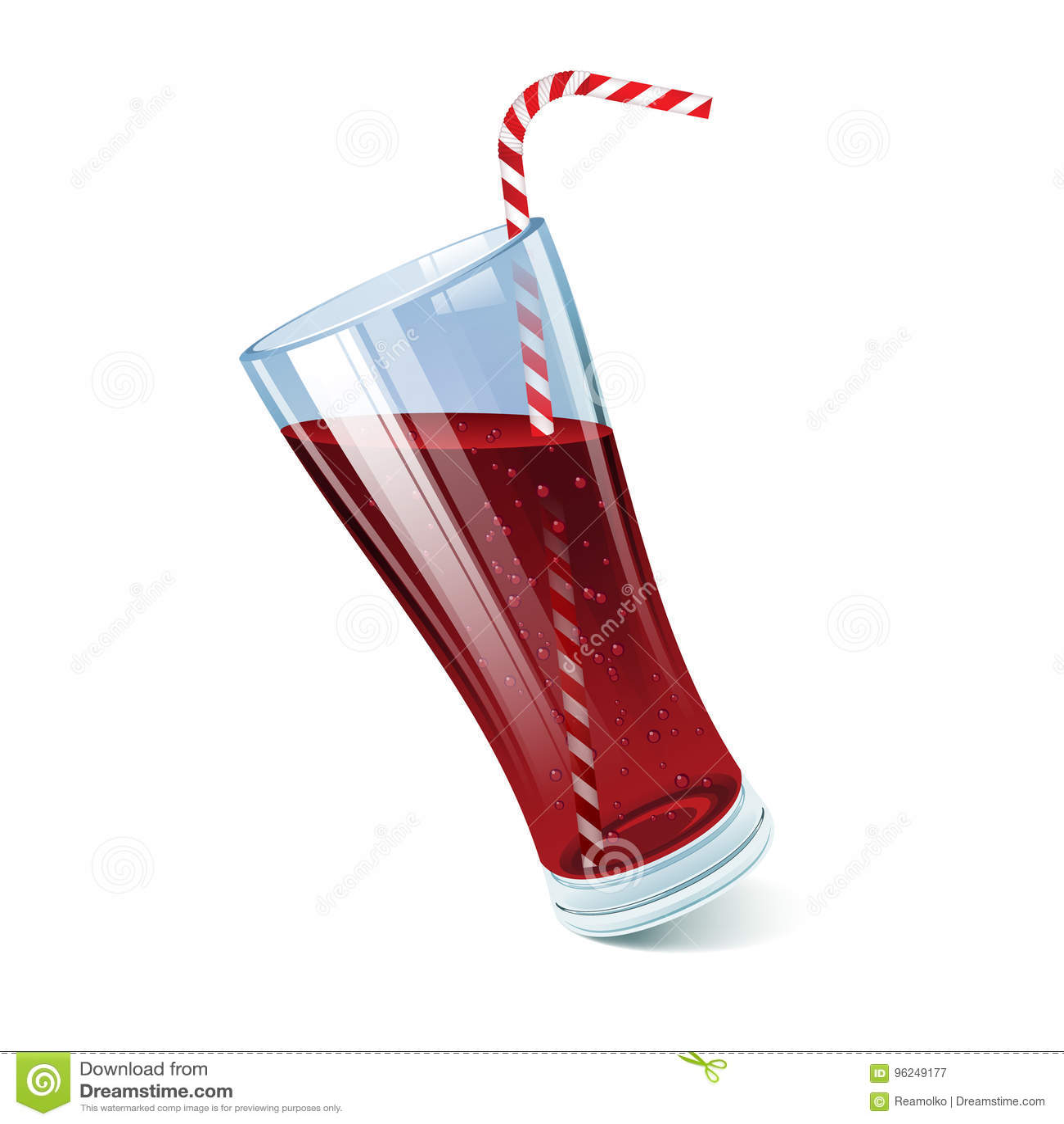 Verre incliné de kola avec la paille de cocktail