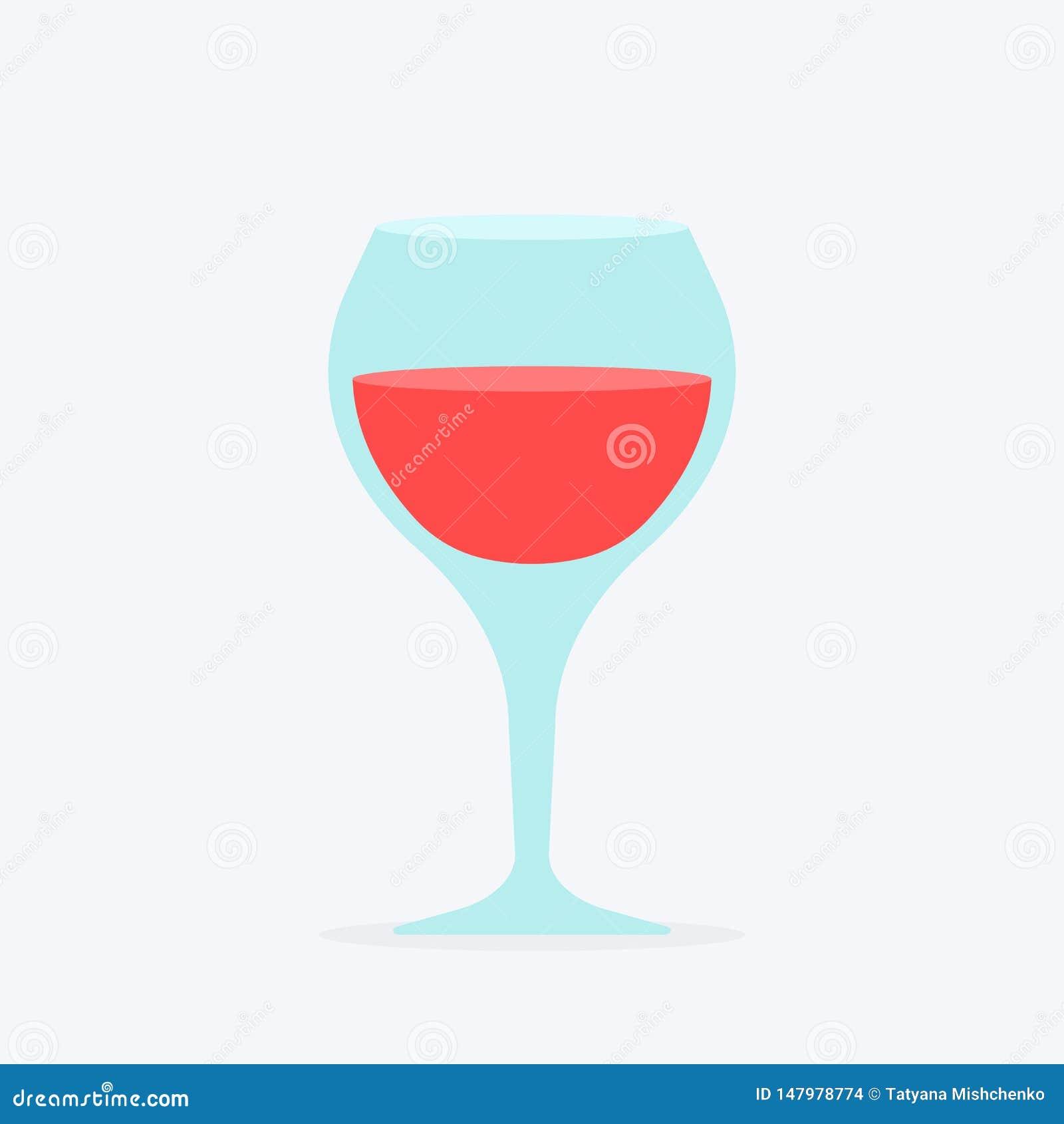 Verre ?l?gant avec la vigne Le verre à vin toujours rempli de position de vin rouge et incliné avec éclabousse les icônes plates