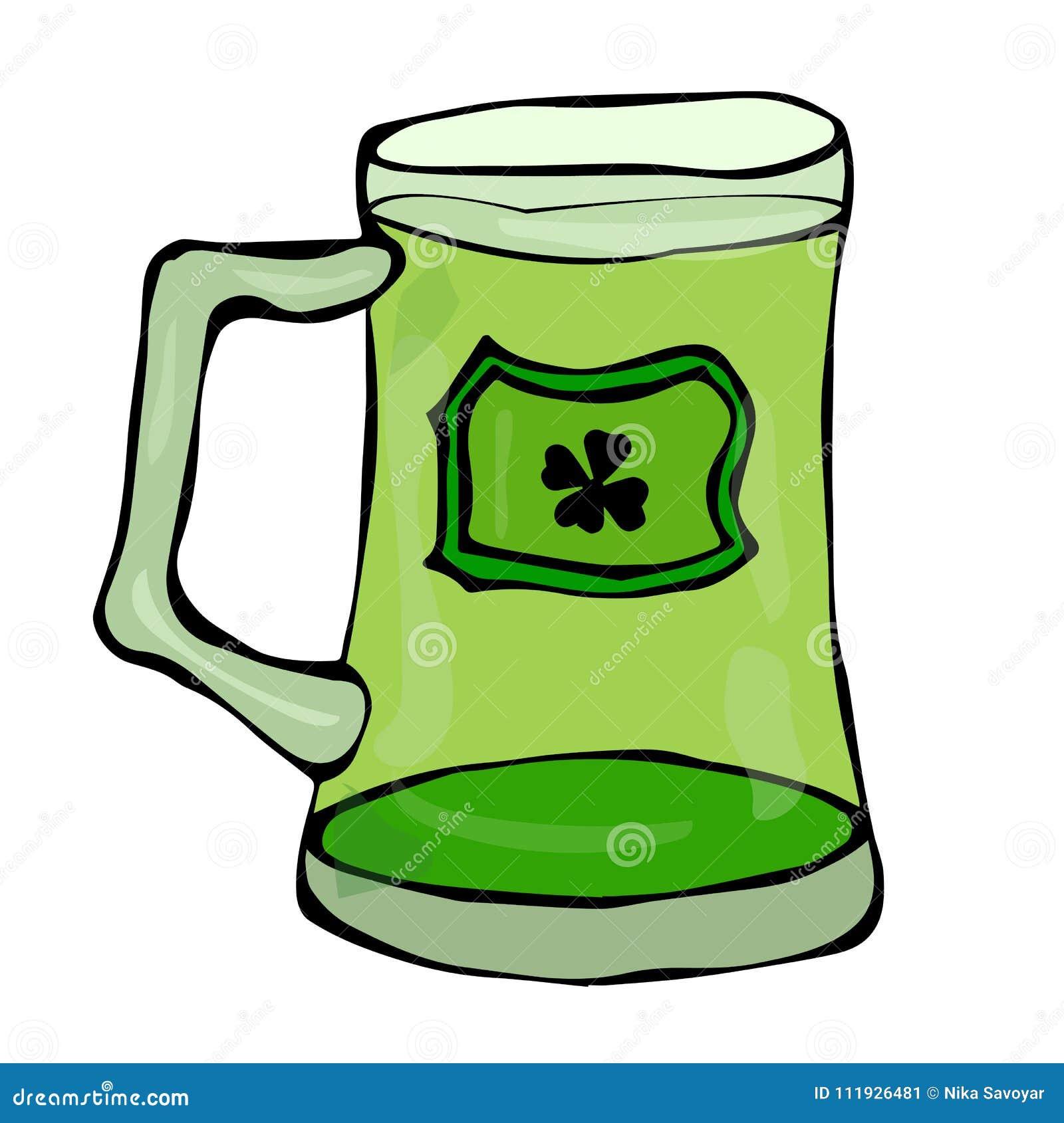 Verre vert de symbole de jour de St Patricks de bière avec l éclaboussure de la boisson alcoolisée Illustration de vecteur de l I