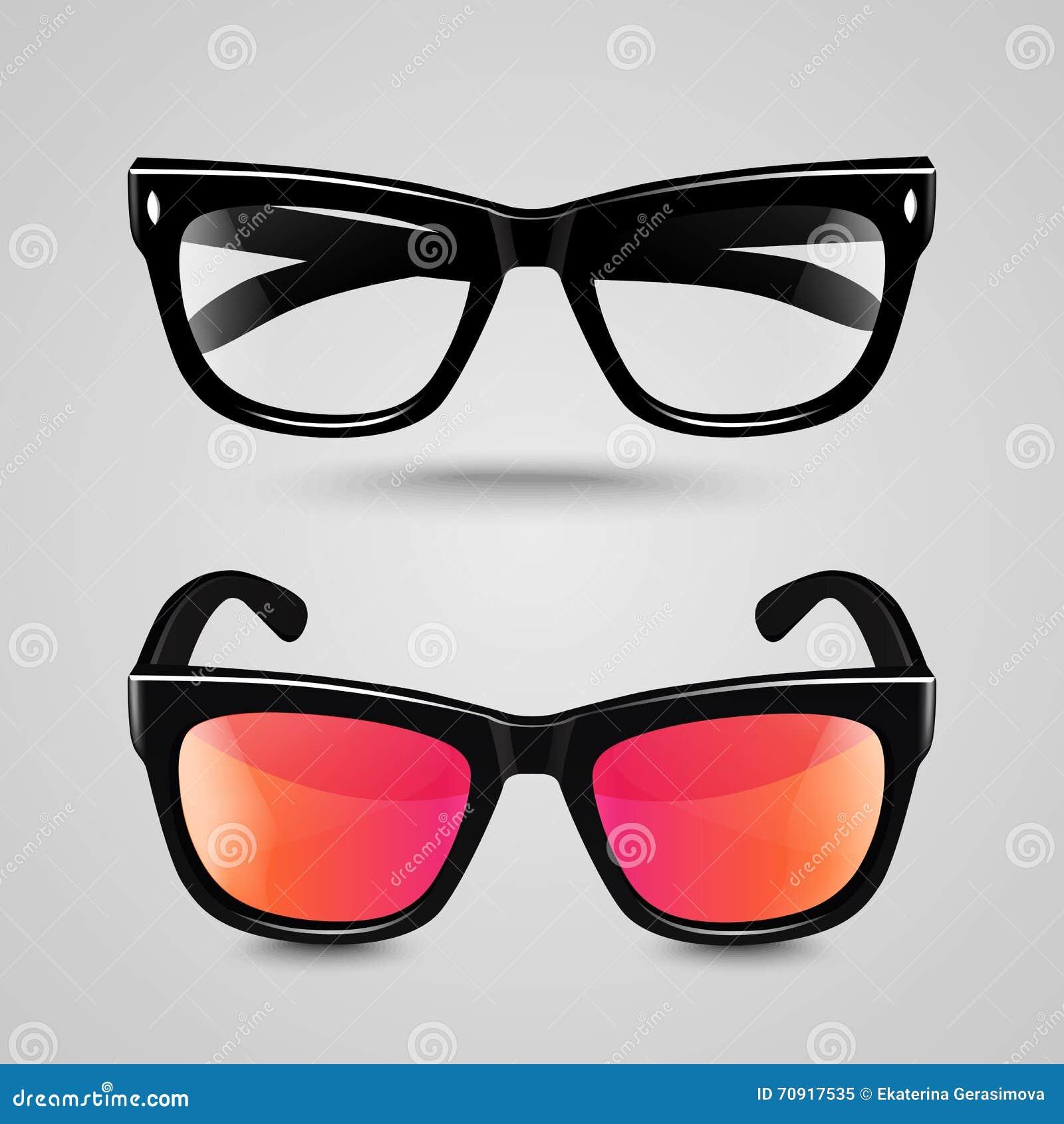 verres d 39 oeil r gl s lunettes de soleil et lunettes de lecture avec le cadre noir de couleur et. Black Bedroom Furniture Sets. Home Design Ideas