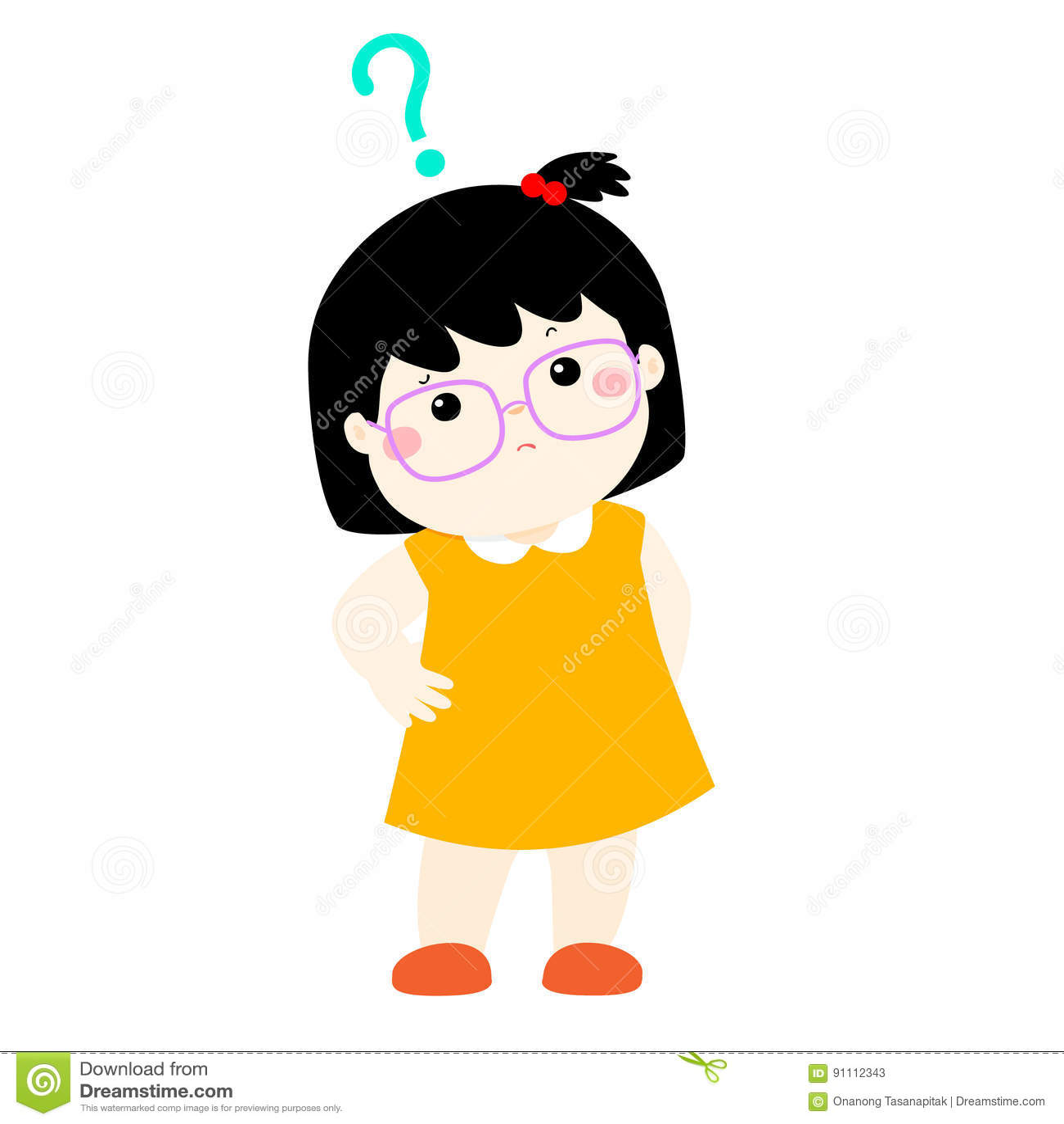 Verres D Usage De Cheveux Noirs De Petite Fille Se Demandant Le