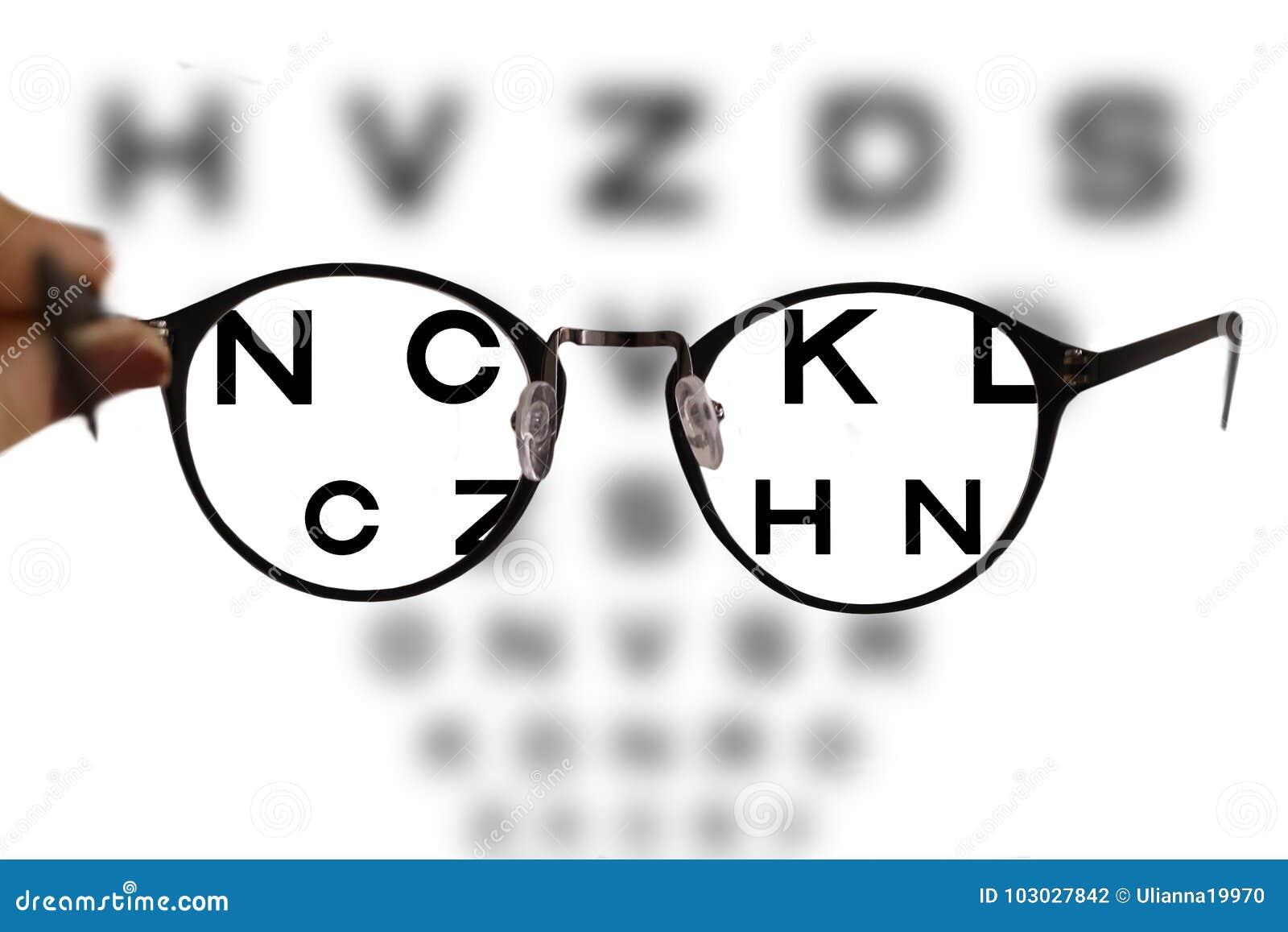 Les verres de correction de myopie sur le diagramme d oeil marque avec des  lettres le fond 68b9205f308c