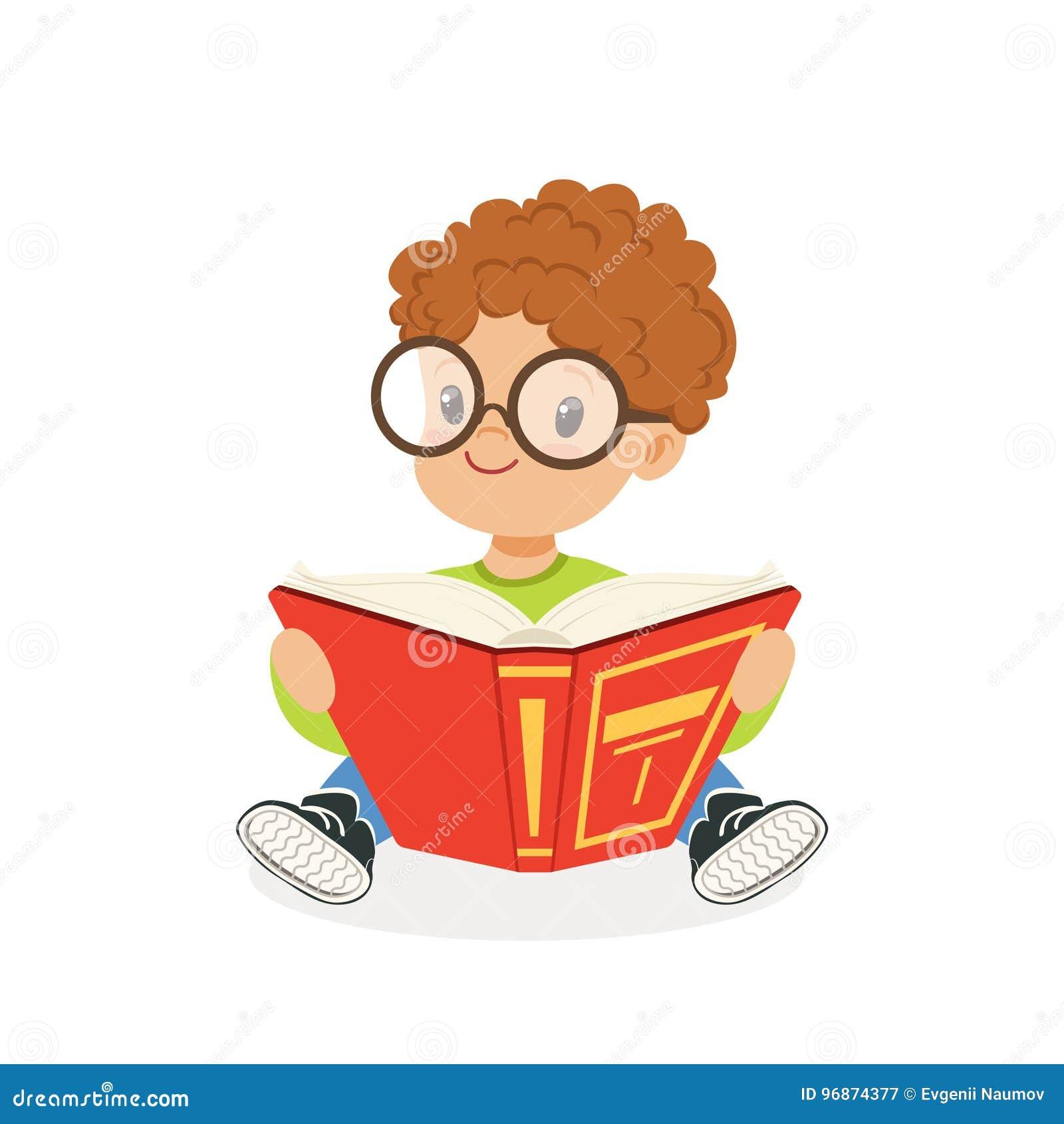 Verres De Port De Garcon Roux Mignon Lisant Un Livre Enfant