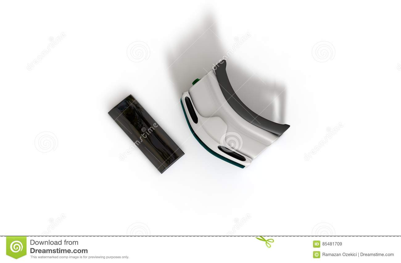 Verres de réalité virtuelle et concept 3d de téléphone de Mobil