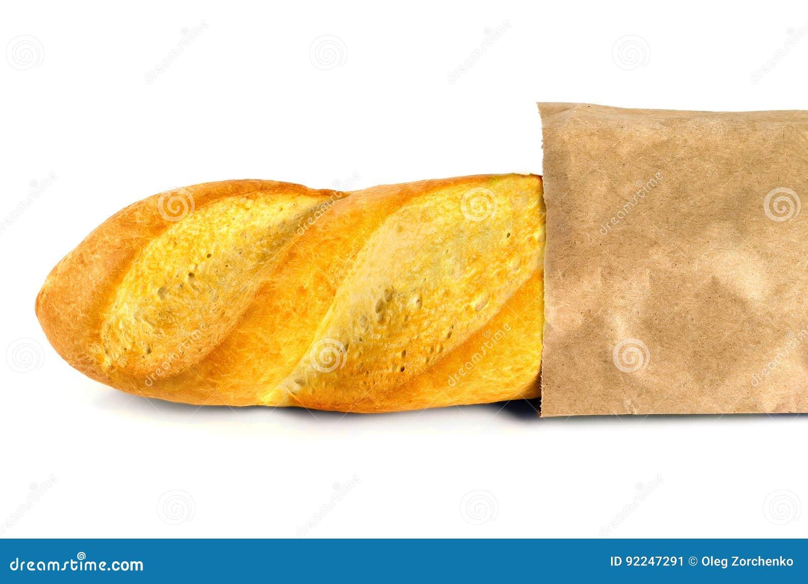 Vers gebakken baguette gestold in een zak document