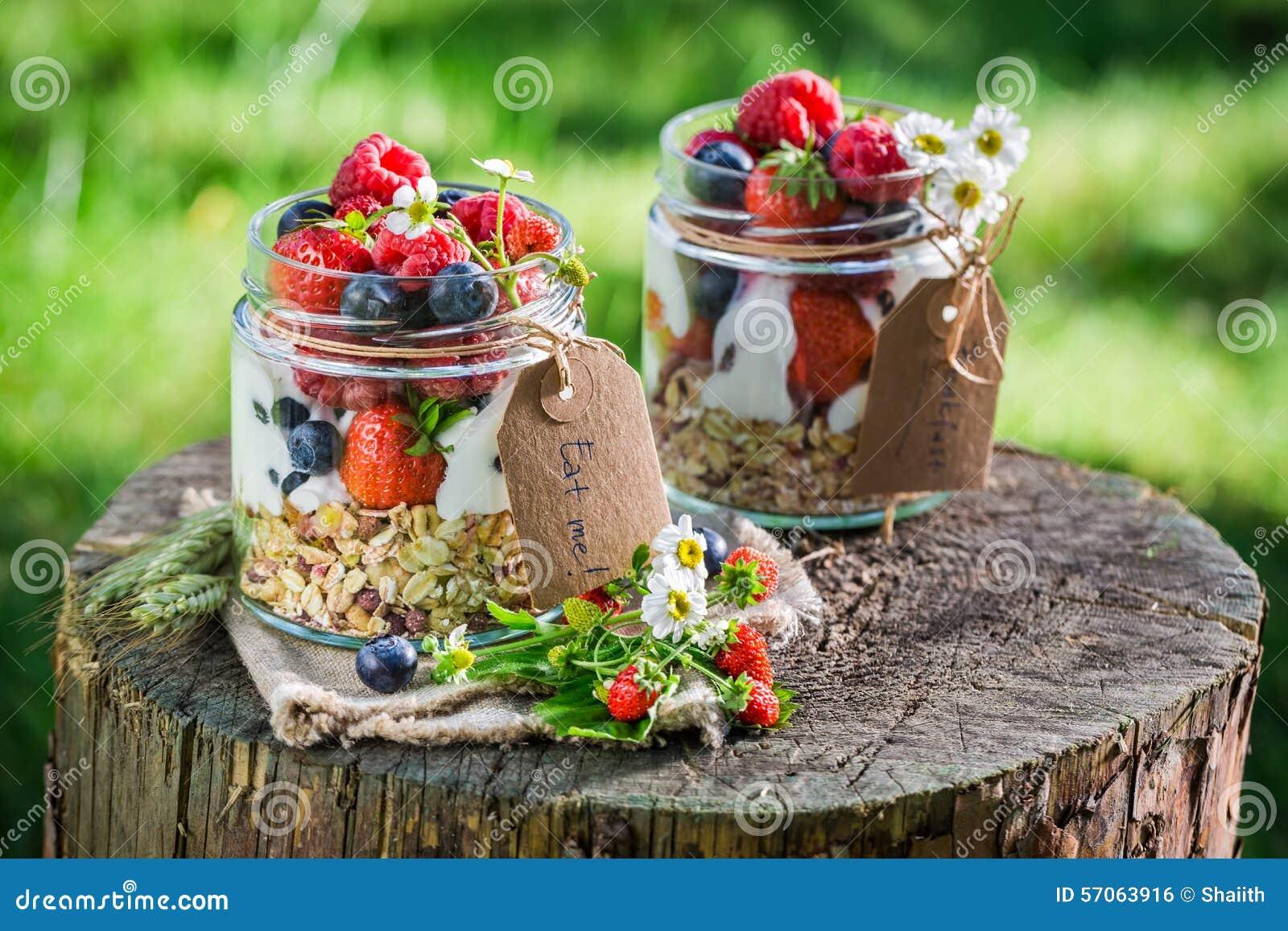 Vers ontbijt met yoghurt en bessen in tuin
