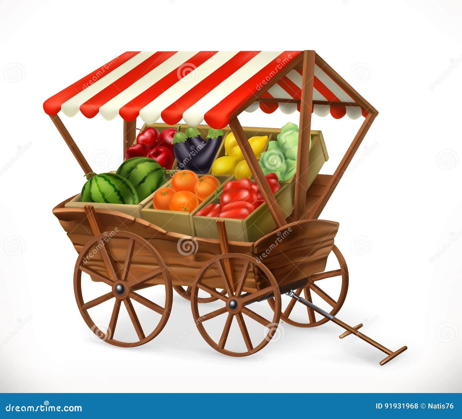 Vers productmarkt Kar met vruchten en groenten, vectorpictogram