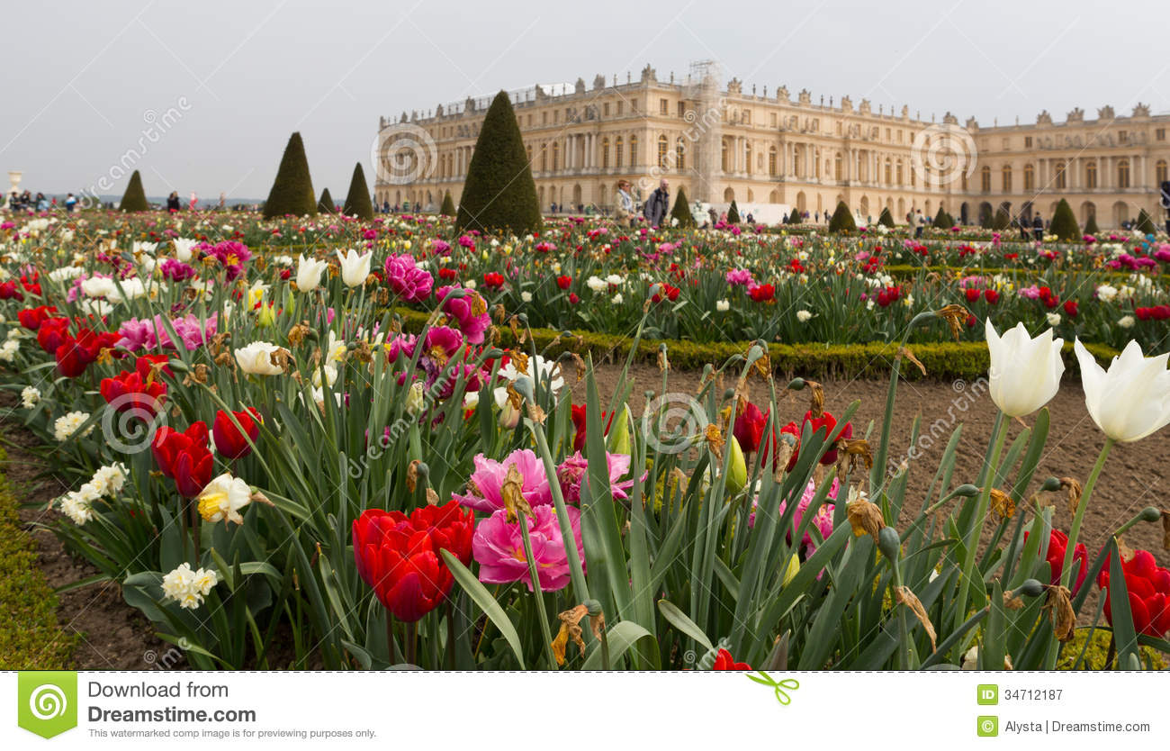 Versailles Gardens And Building Angled Royalty Free Stock