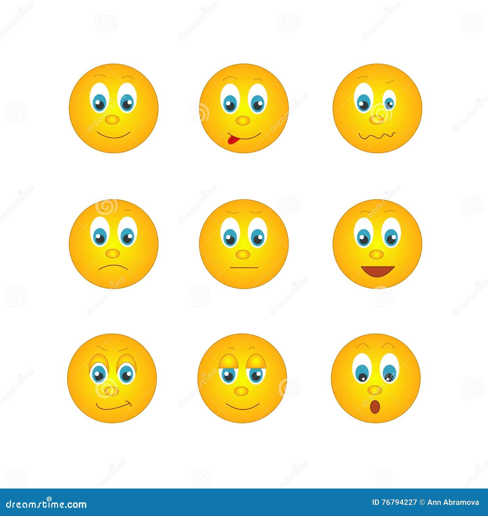 foto de Verscheidene Ronde Gele Emoticons Met Verschillende Emoties Vector Illustratie Illustratie