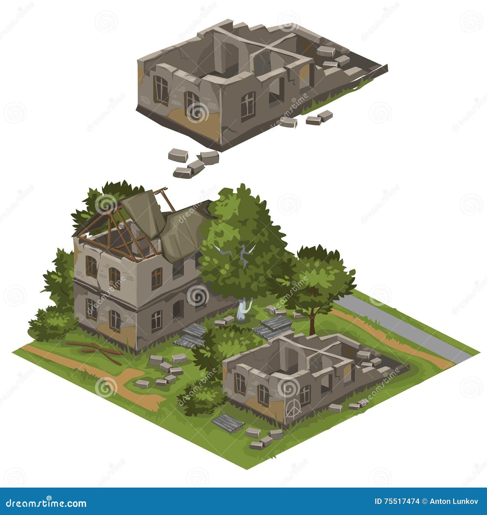 Verscheidene vernietigde gebouwen en bomen, vectorstad
