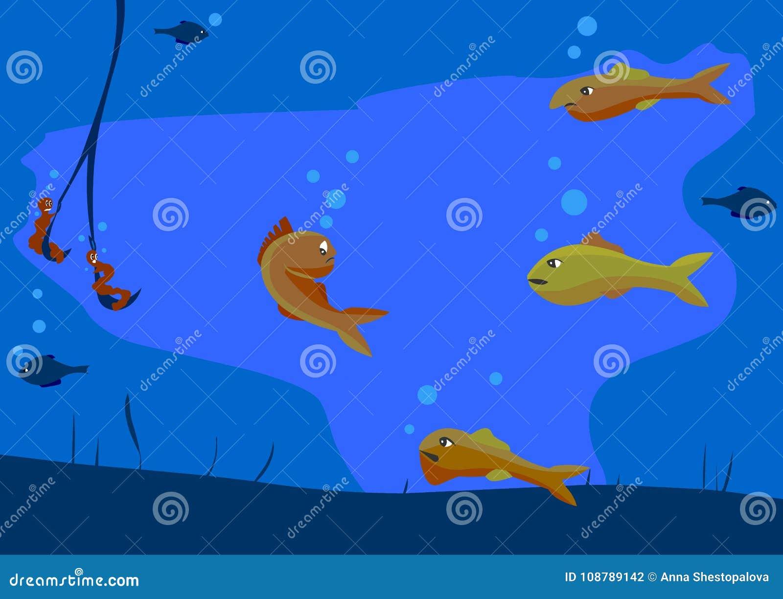 Verscheidene vissen kwade mooie vissen en maken tot het Popasna op de haak van de visser