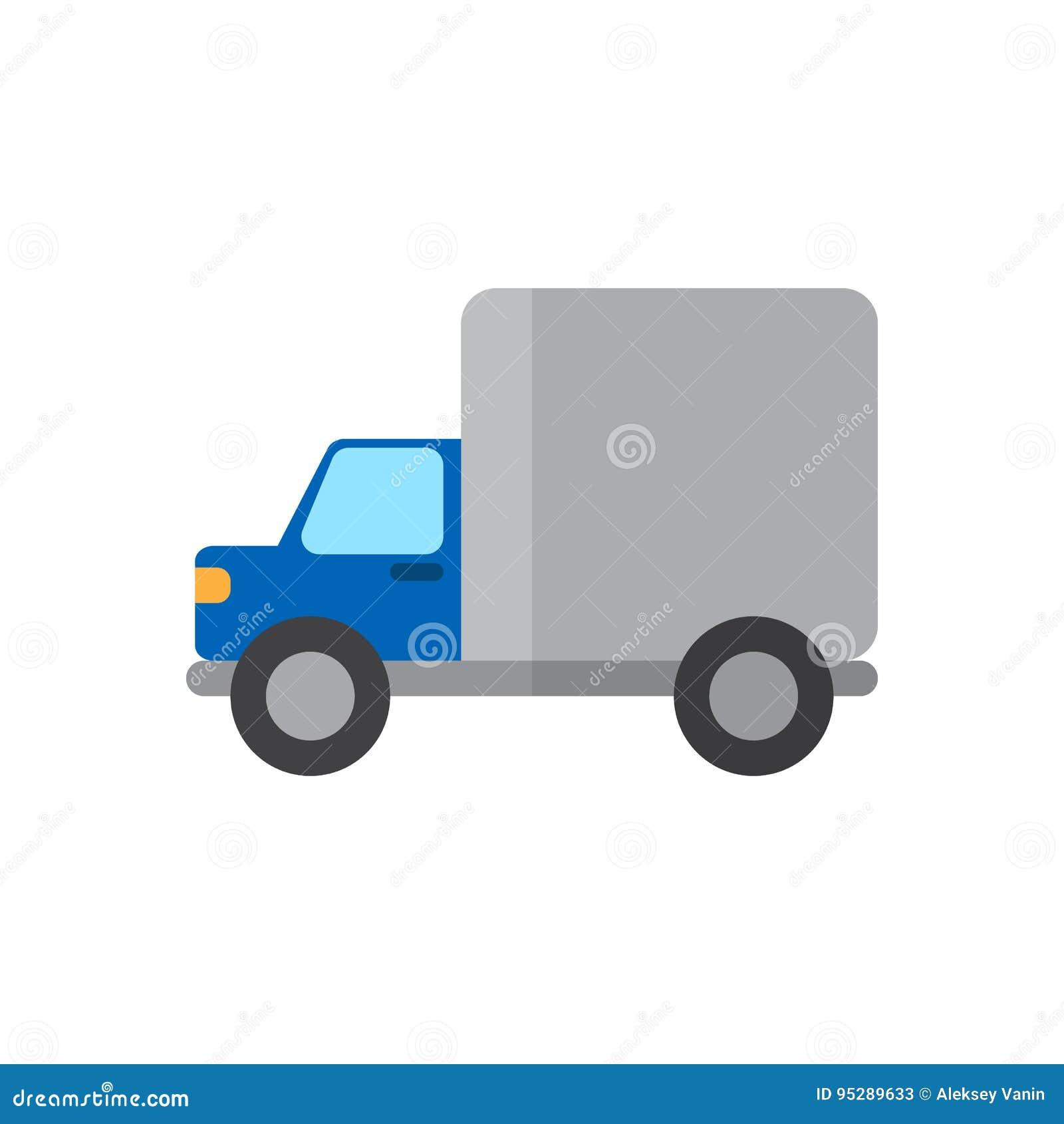 Verschepend vrachtwagen vlak pictogram, gevuld vectorteken, kleurrijk die pictogram op wit wordt geïsoleerd
