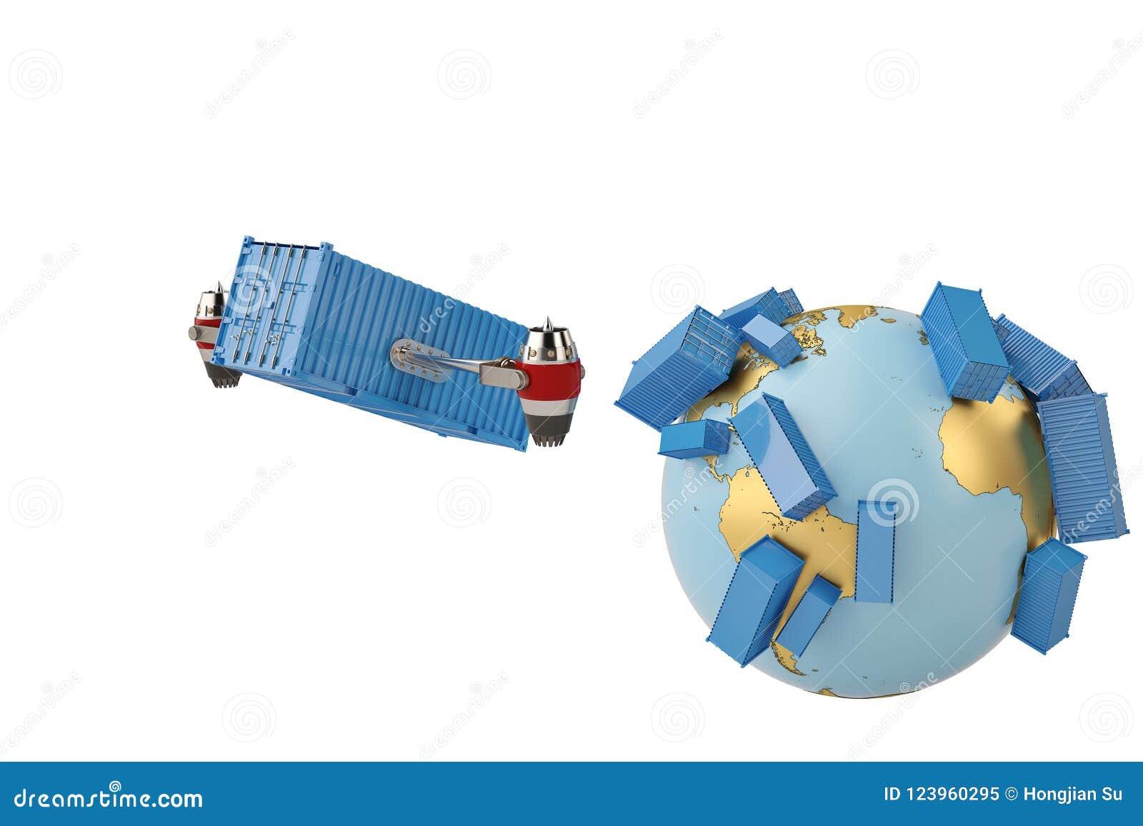 Verschepende conceptencontainer wereldwijd met straalmotor en bol