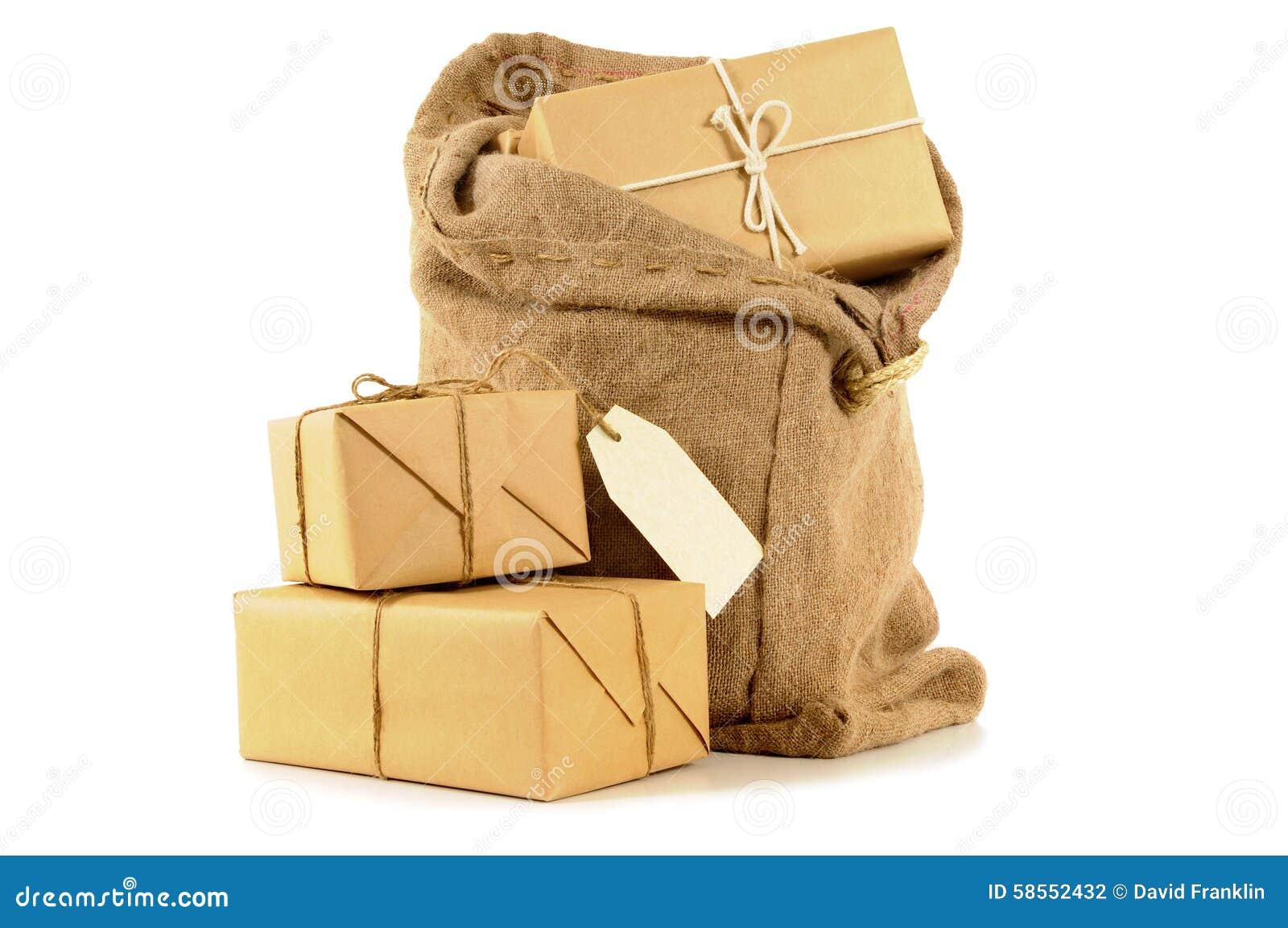 Verschicken Sie Sack- Oder Beitragstasche Mit Einigen Eingewickelten ...