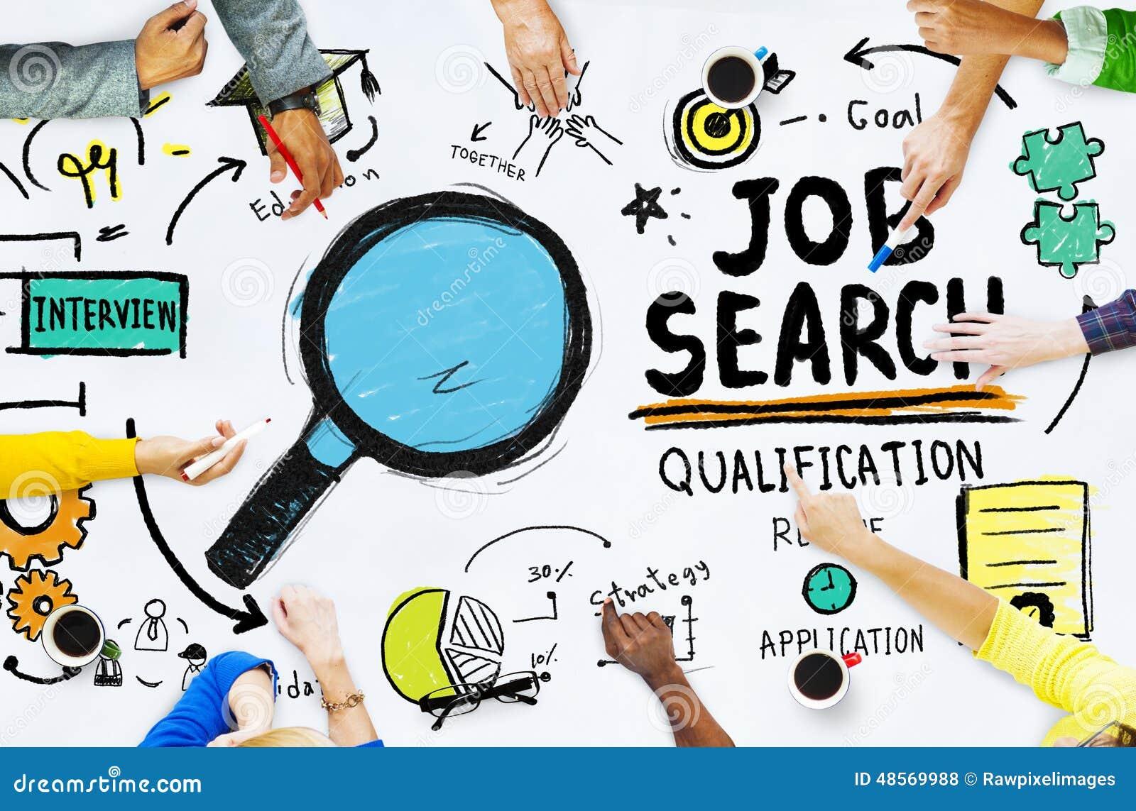 Verschiedenartigkeits-Hände, die Job Search Opportunity Concept suchen