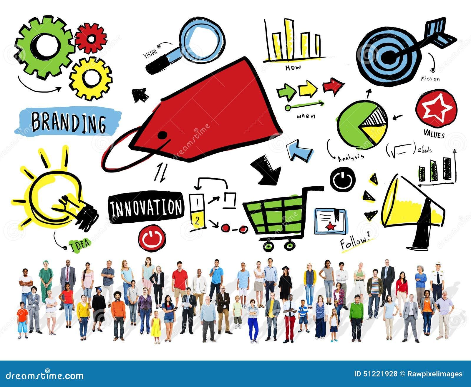 Verschiedenartigkeits-zufällige Leute, die Team Aspiration Goal Concept brandmarken