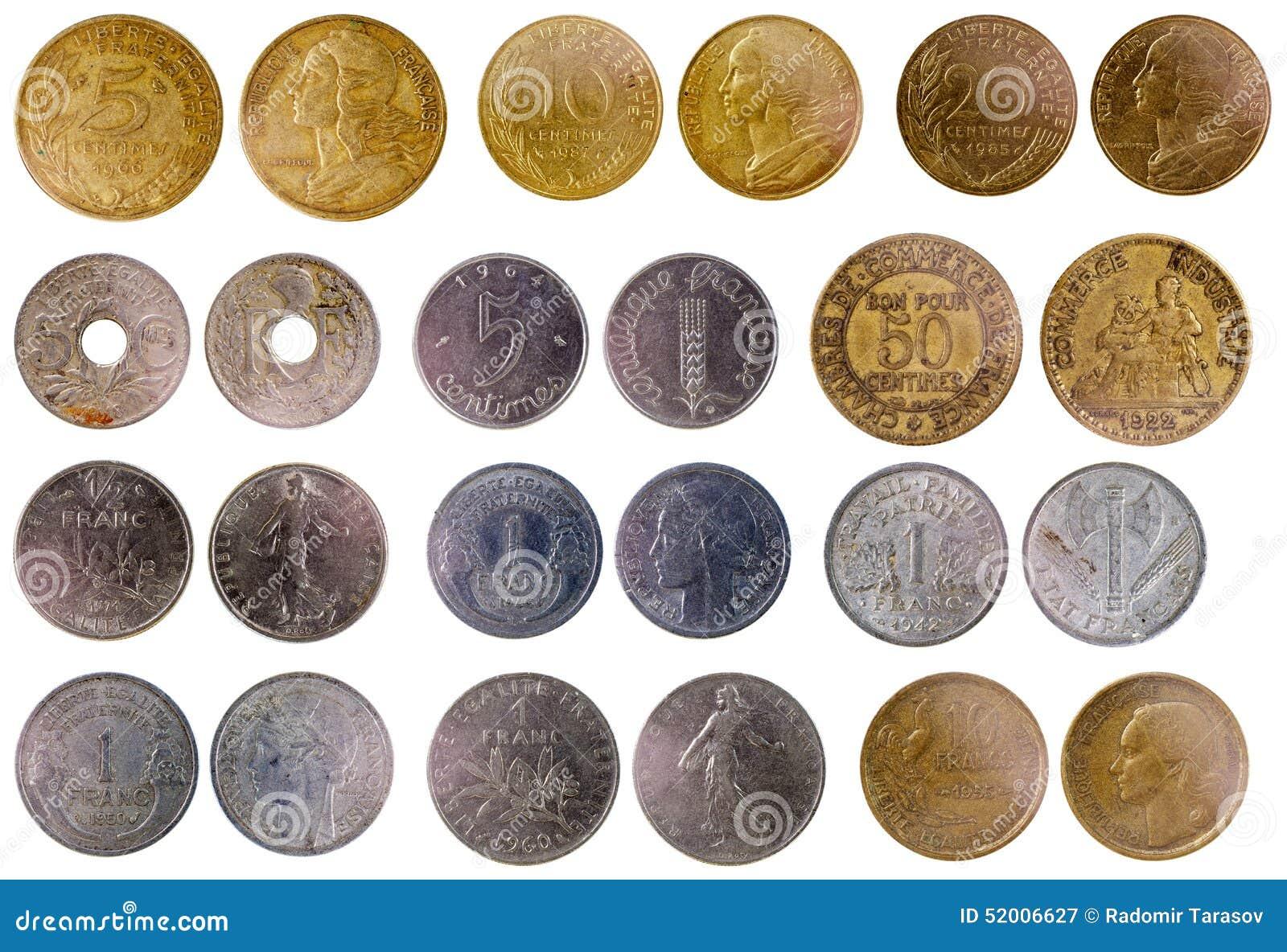 Verschiedene Alte Französische Münzen Stockbild Bild Von Münze
