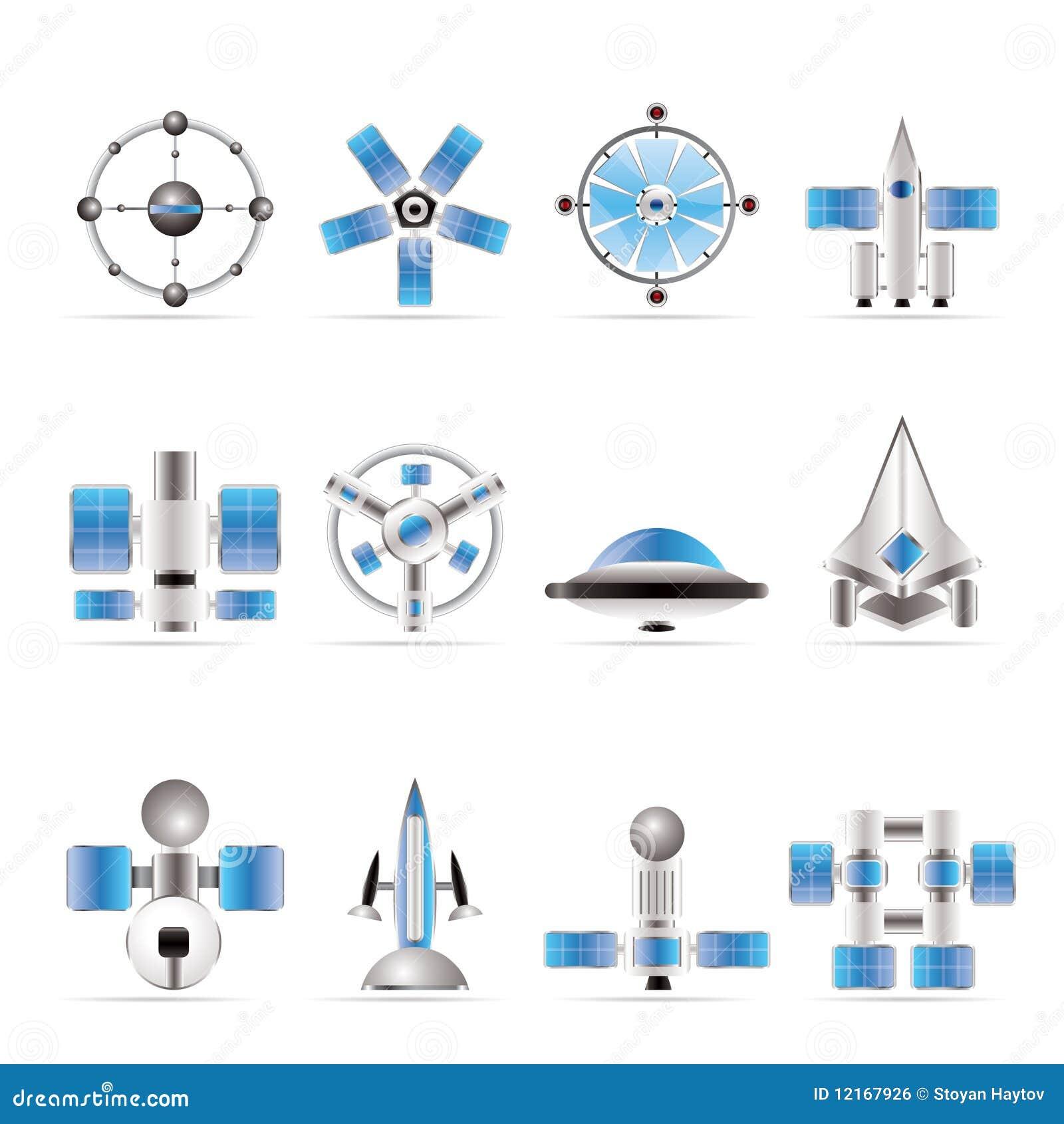 Verschiedene Arten Der Zukunftigen Raumfahrzeugikonen Vektor