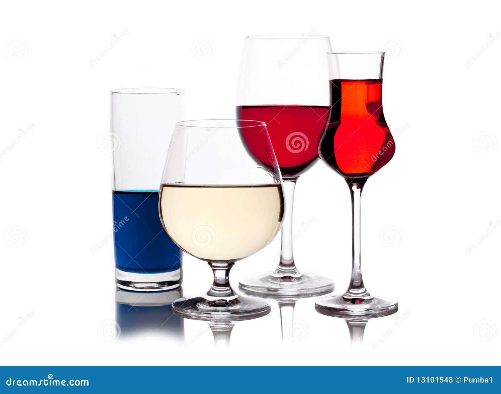 Verschiedene Farbige Getränke In Den Weingläsern Stockfoto - Bild ...