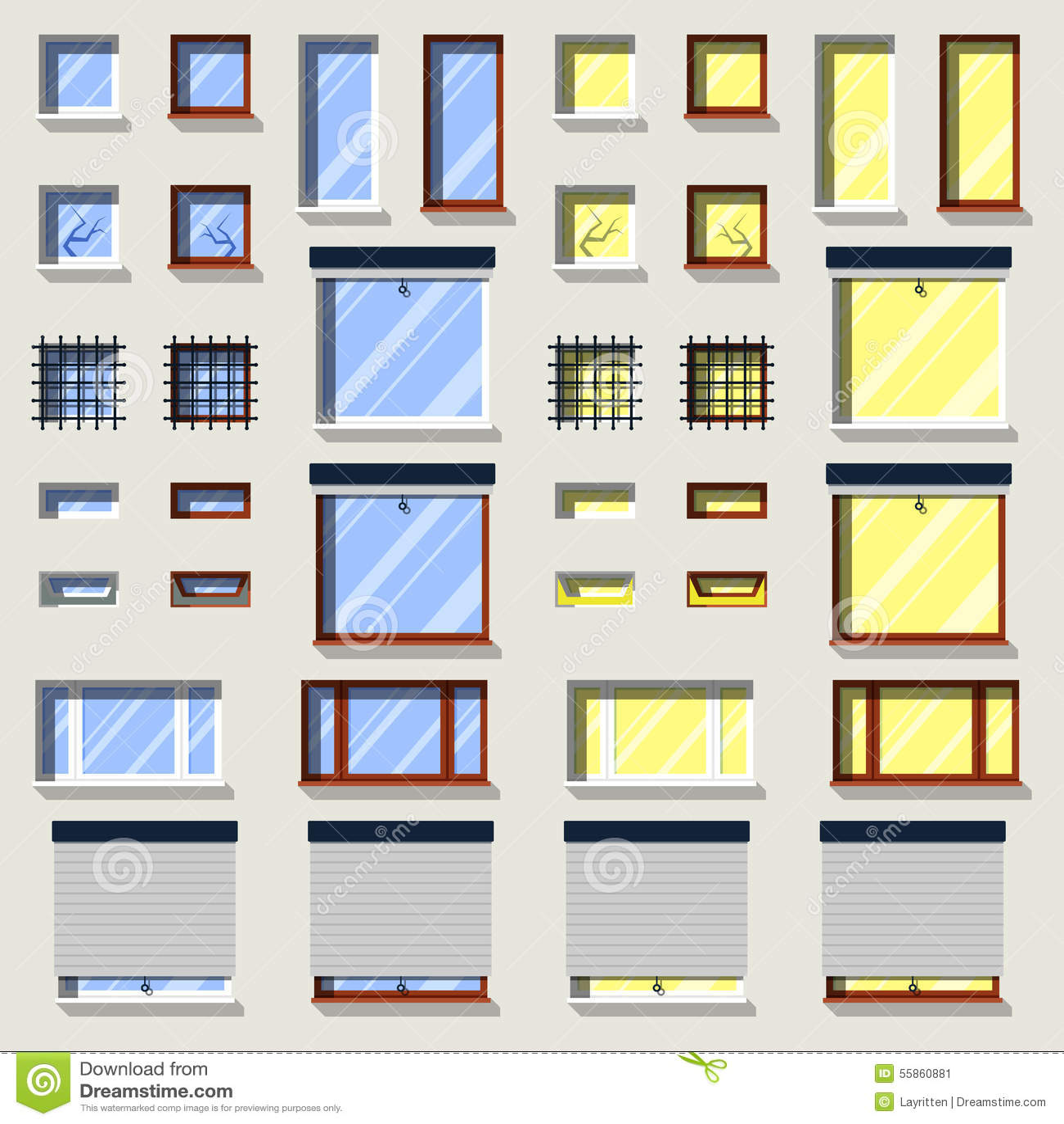 verschiedene fenster eingestellt flache au enikonen vektor abbildung bild 55860881. Black Bedroom Furniture Sets. Home Design Ideas
